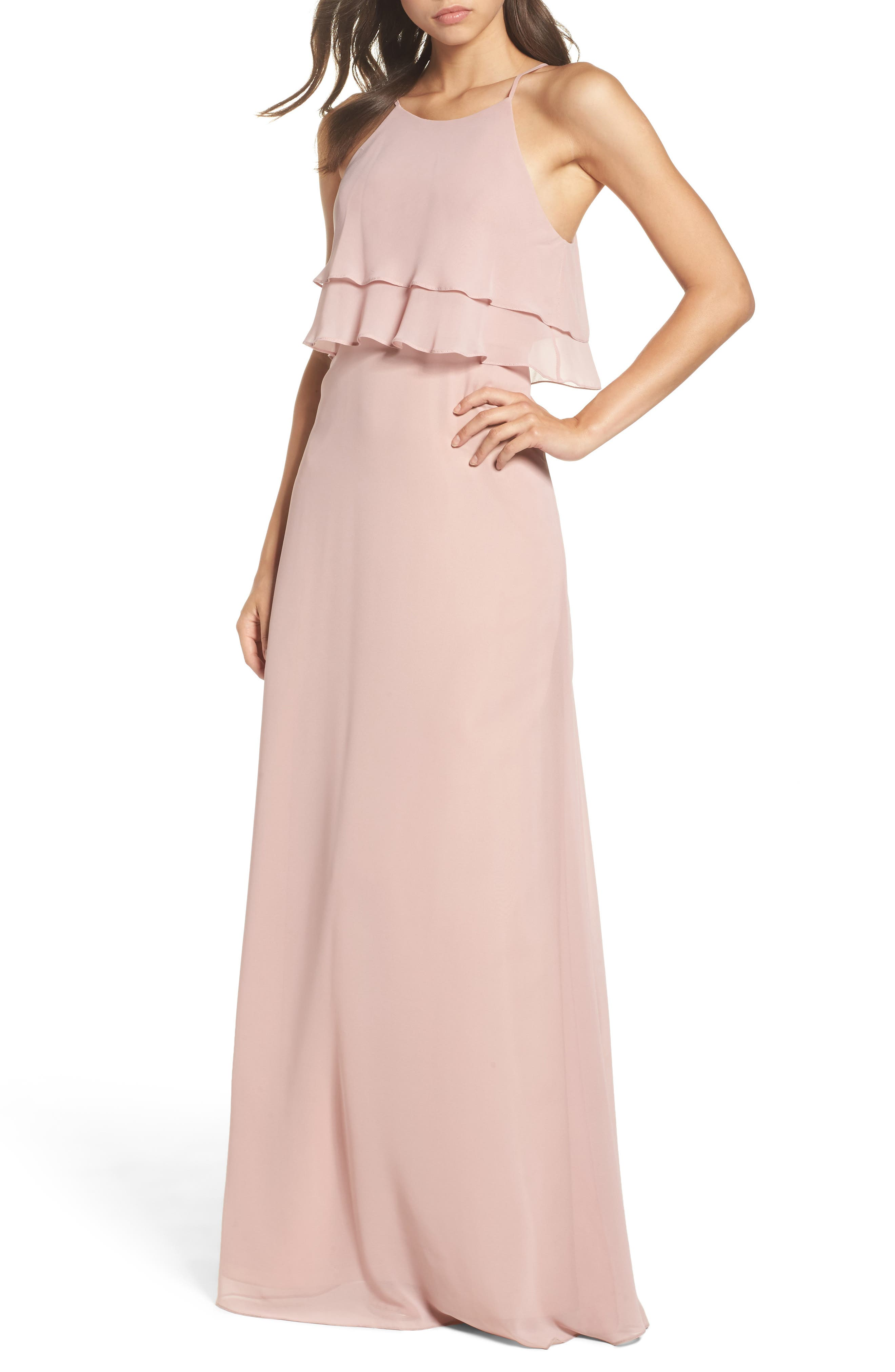 Charlie Ruffle Bodice Gown,                             Main thumbnail 4, color,