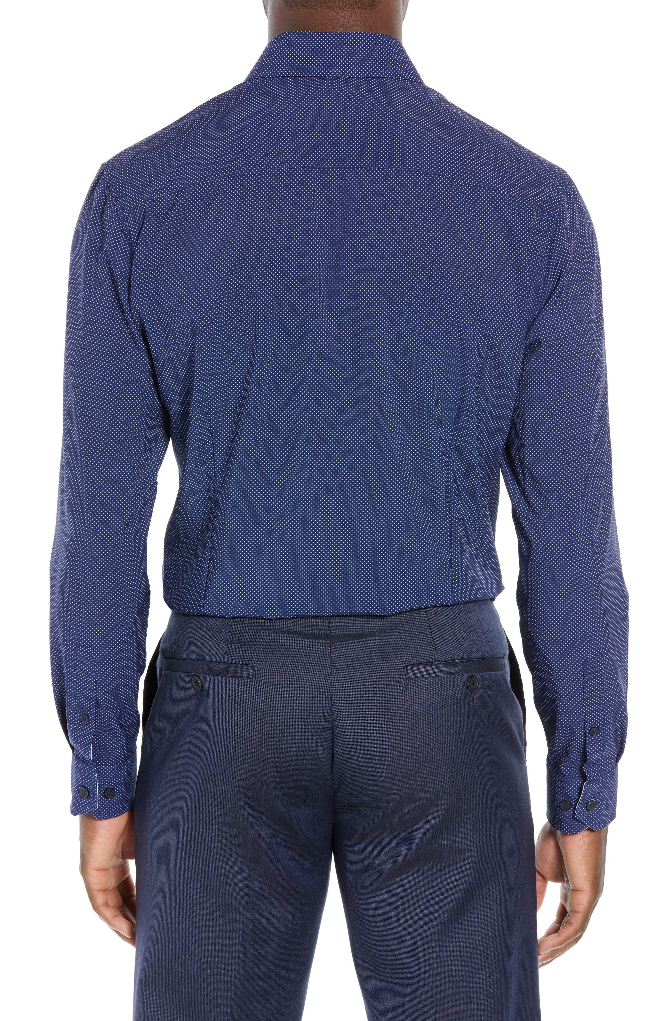 Trim Fit Stretch Dot Dress Shirt,                             Alternate thumbnail 3, color,                             NAVY