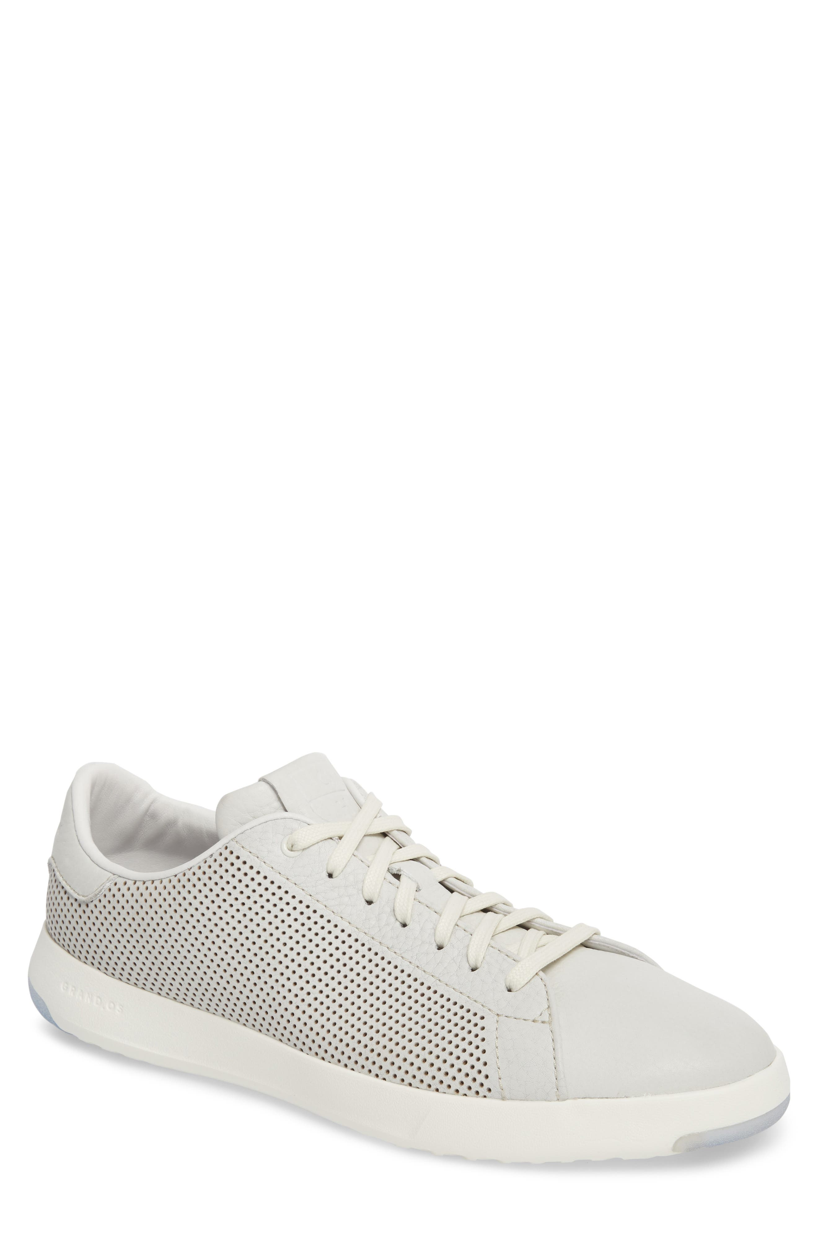 GrandPrø Perforated Low Top Sneaker,                             Main thumbnail 1, color,                             WHITE TUM LEATHER