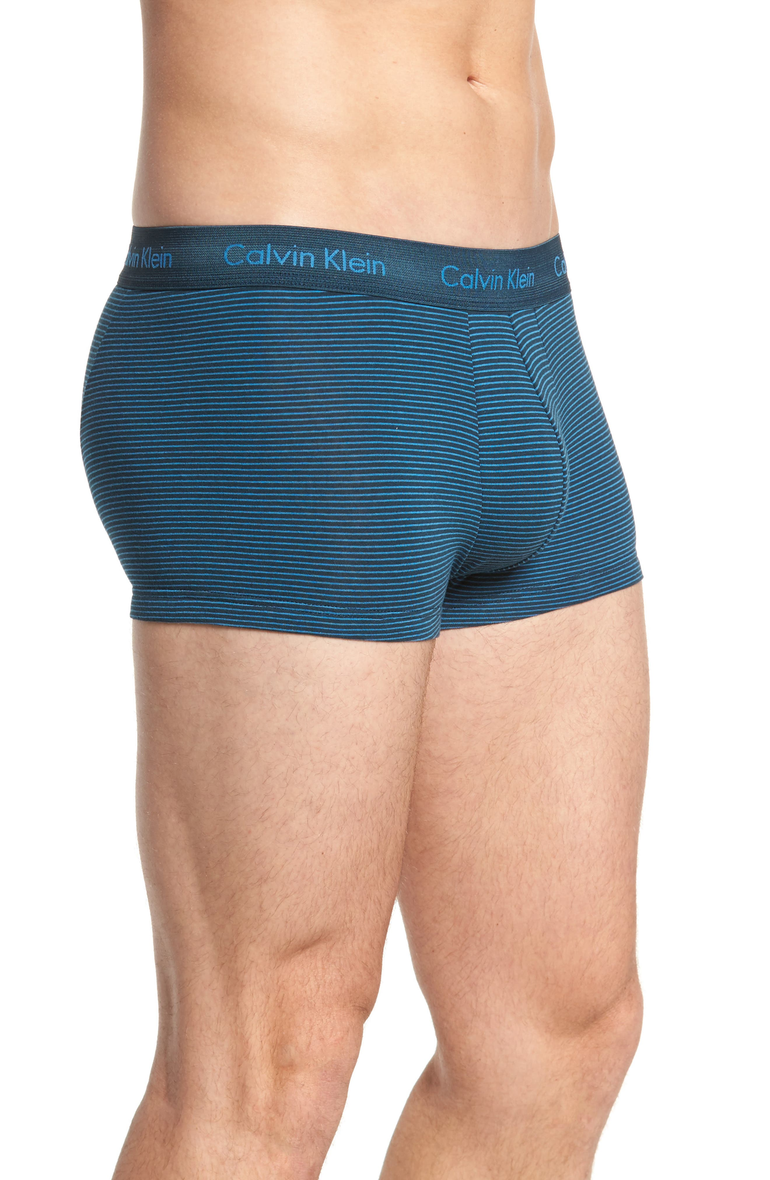 3-Pack Stretch Cotton Low Rise Trunks,                             Alternate thumbnail 4, color,                             BLUE/ SPELLBOUND/ FERVENT