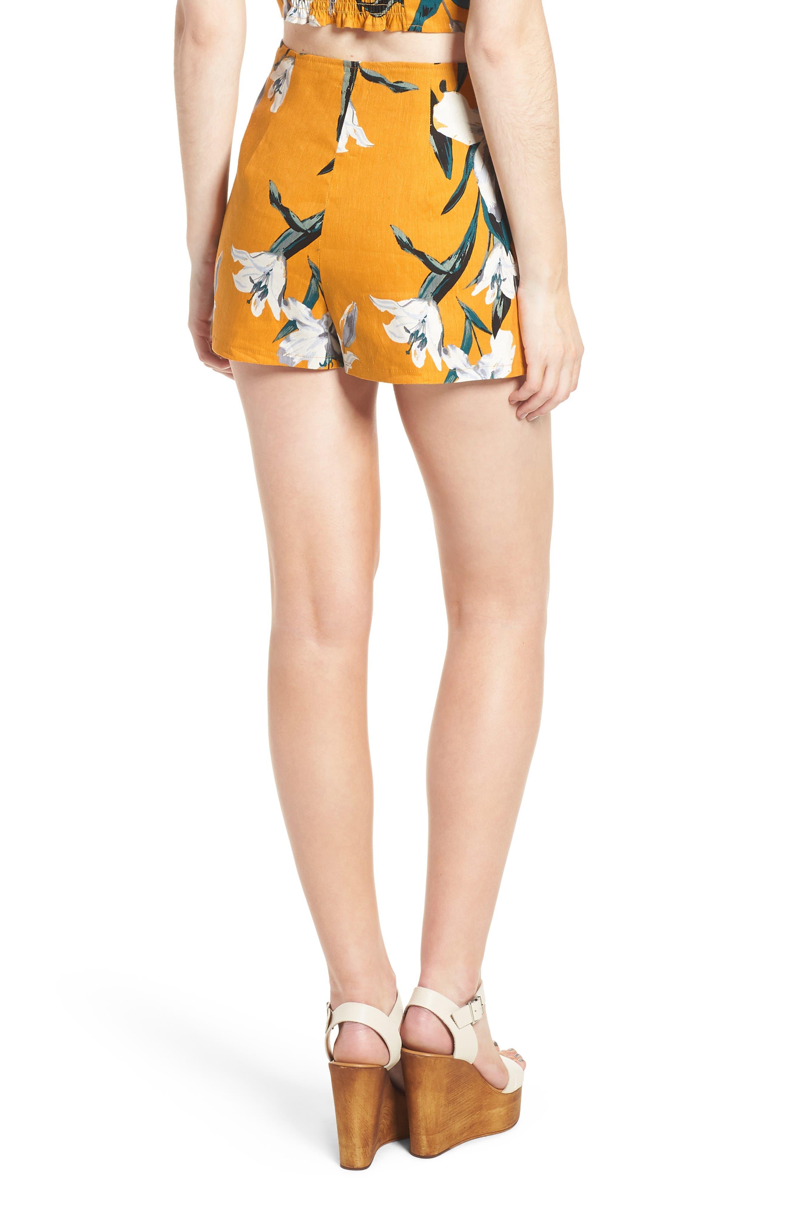 High Waist Linen Blend Shorts,                             Alternate thumbnail 8, color,