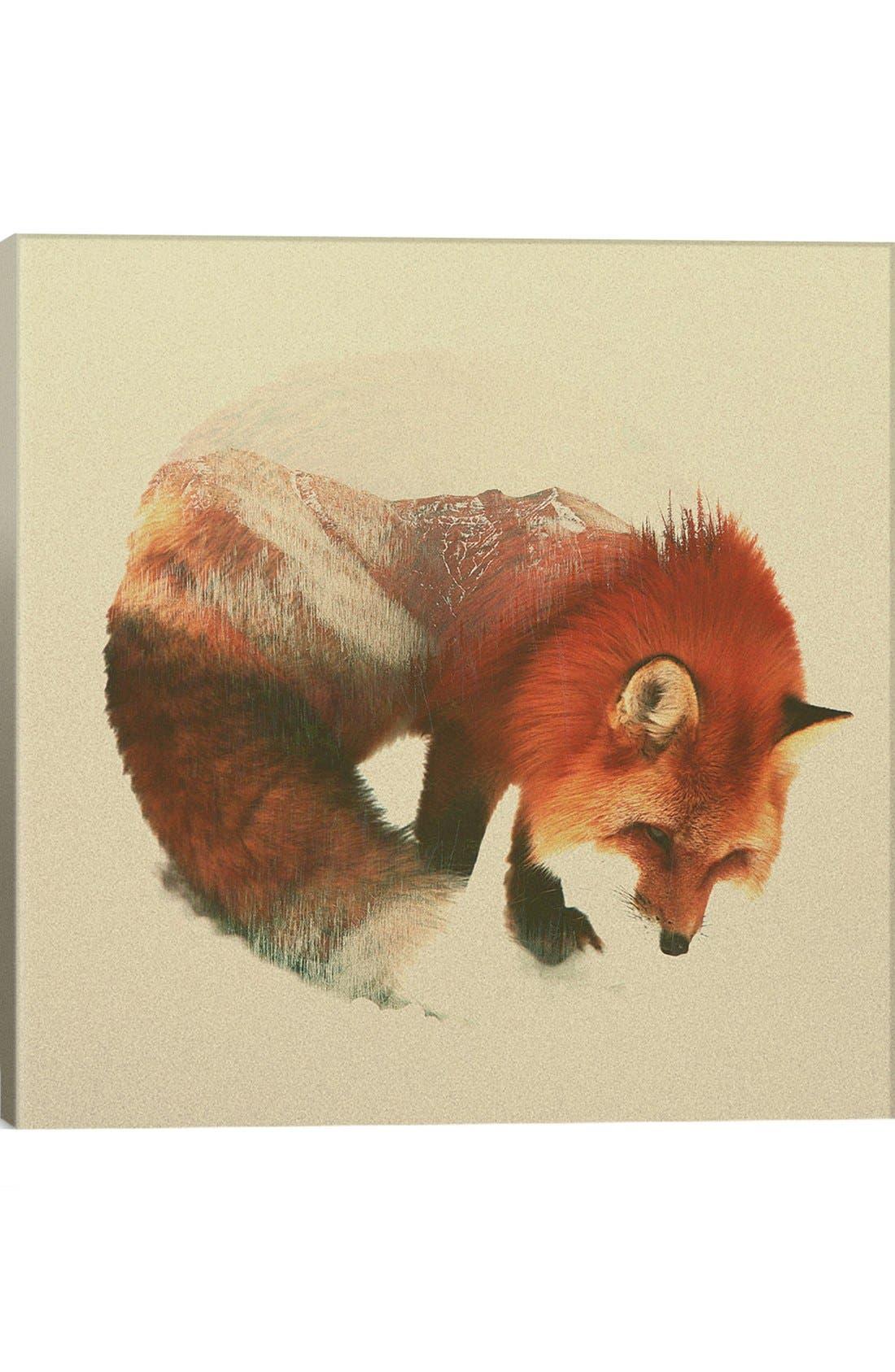 'Snow Fox' Giclée Print Canvas Art,                             Main thumbnail 1, color,                             200