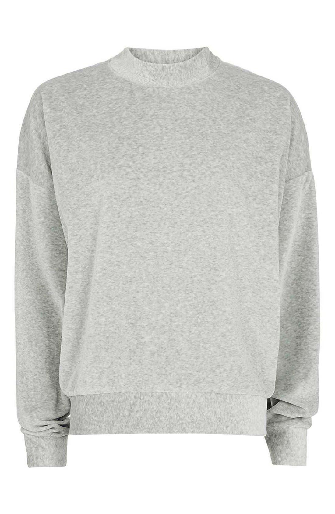 TOPSHOP,                             Batwing Velvet Sweater,                             Alternate thumbnail 5, color,                             020