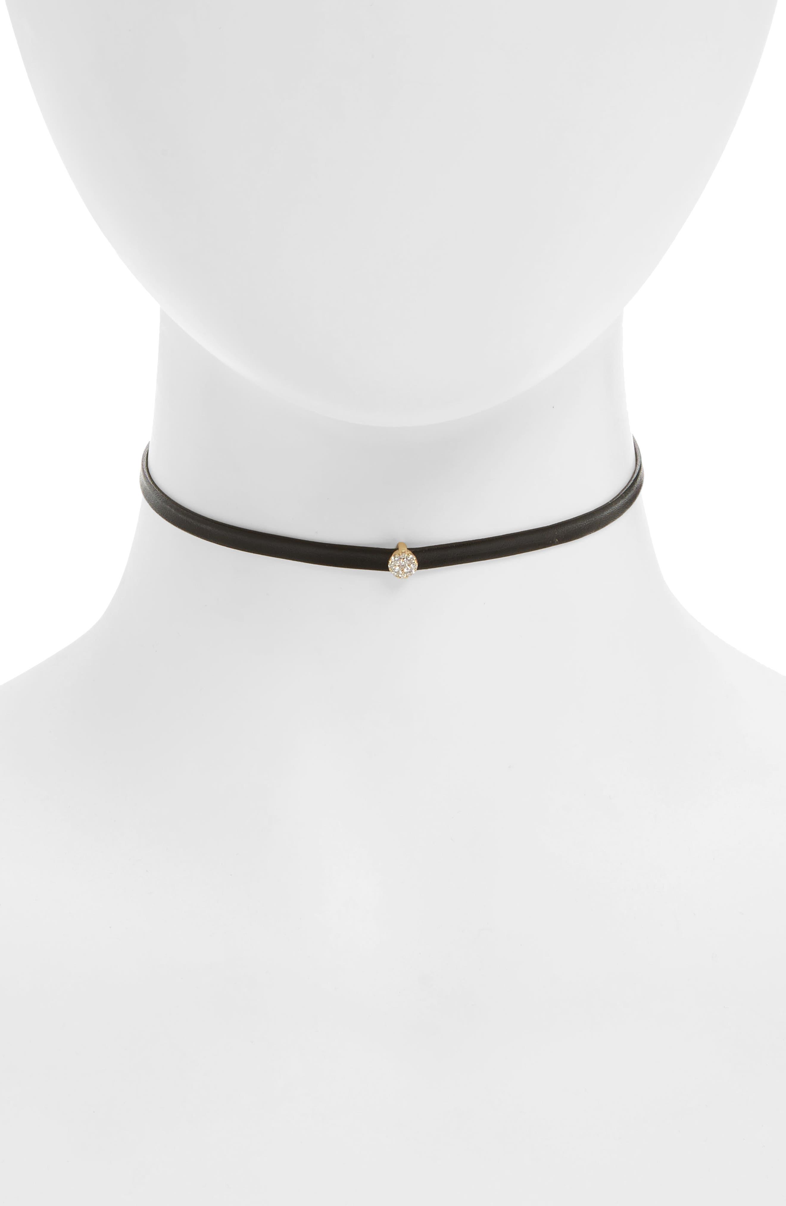 Diamond Leather Choker,                         Main,                         color,