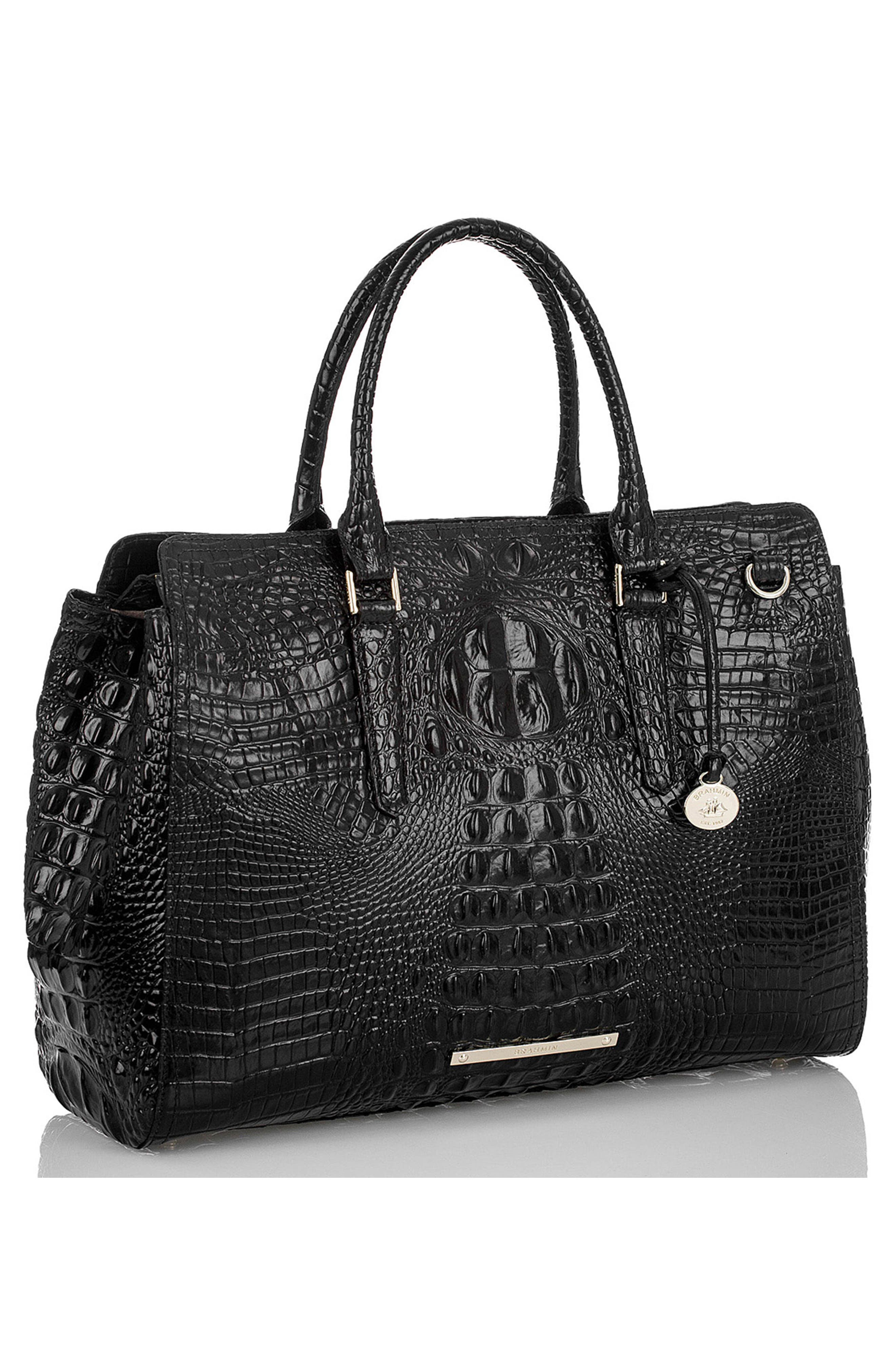 Finley Croc Embossed Leather Tote,                             Alternate thumbnail 5, color,                             001