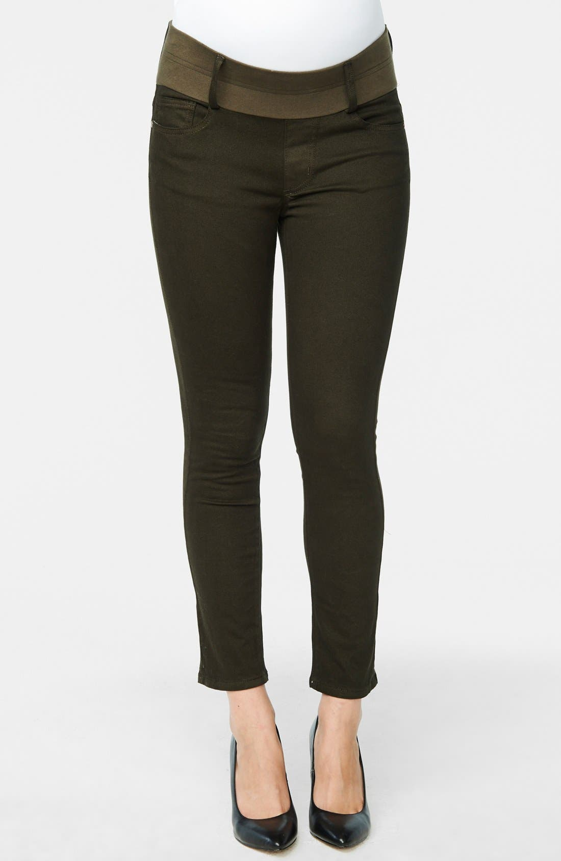 Maternity Skinny Ankle Stretch Jeans,                             Main thumbnail 1, color,                             OLIVE