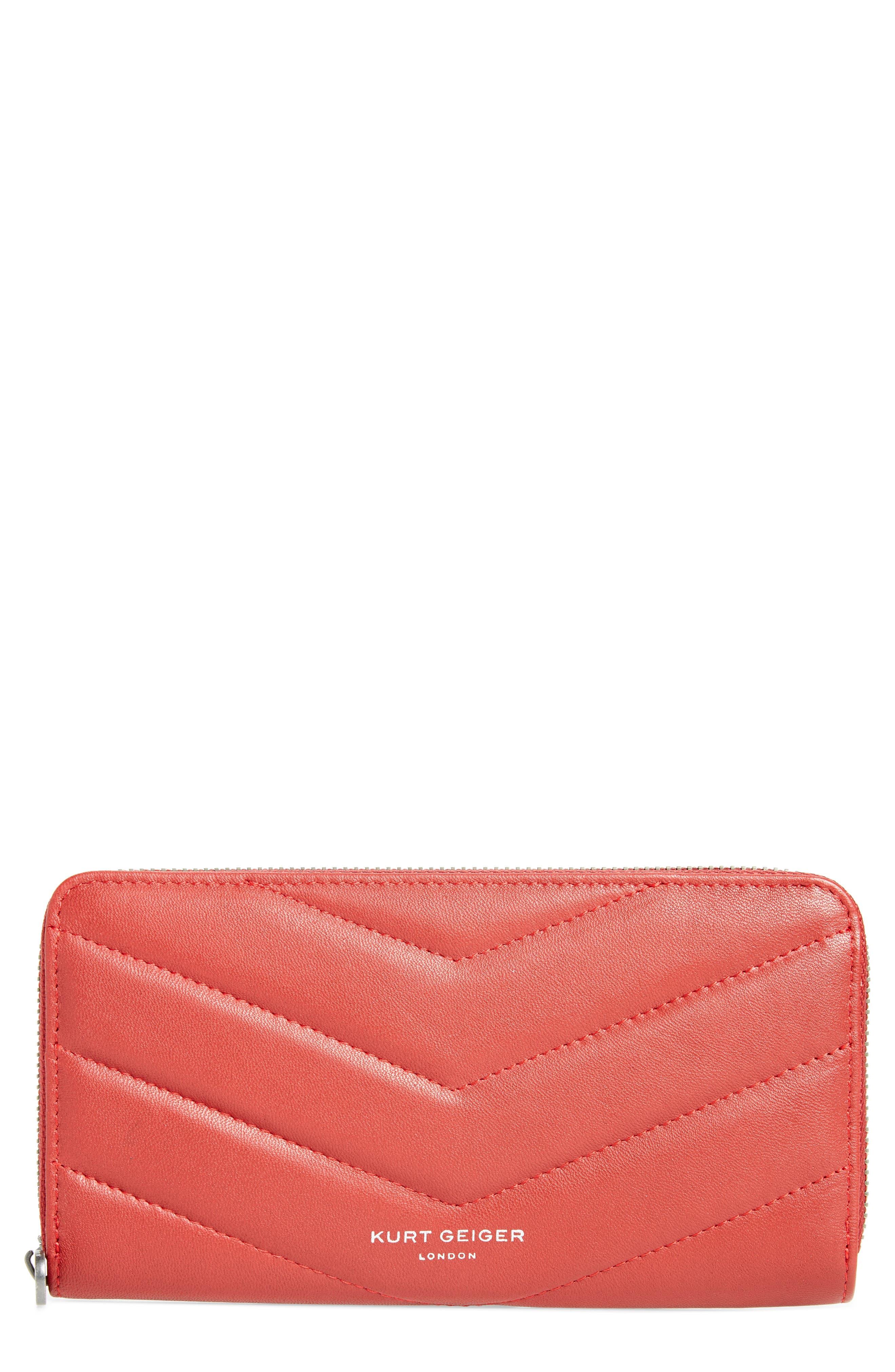 Zip Around Leather Wallet,                         Main,                         color, RED/ DARK