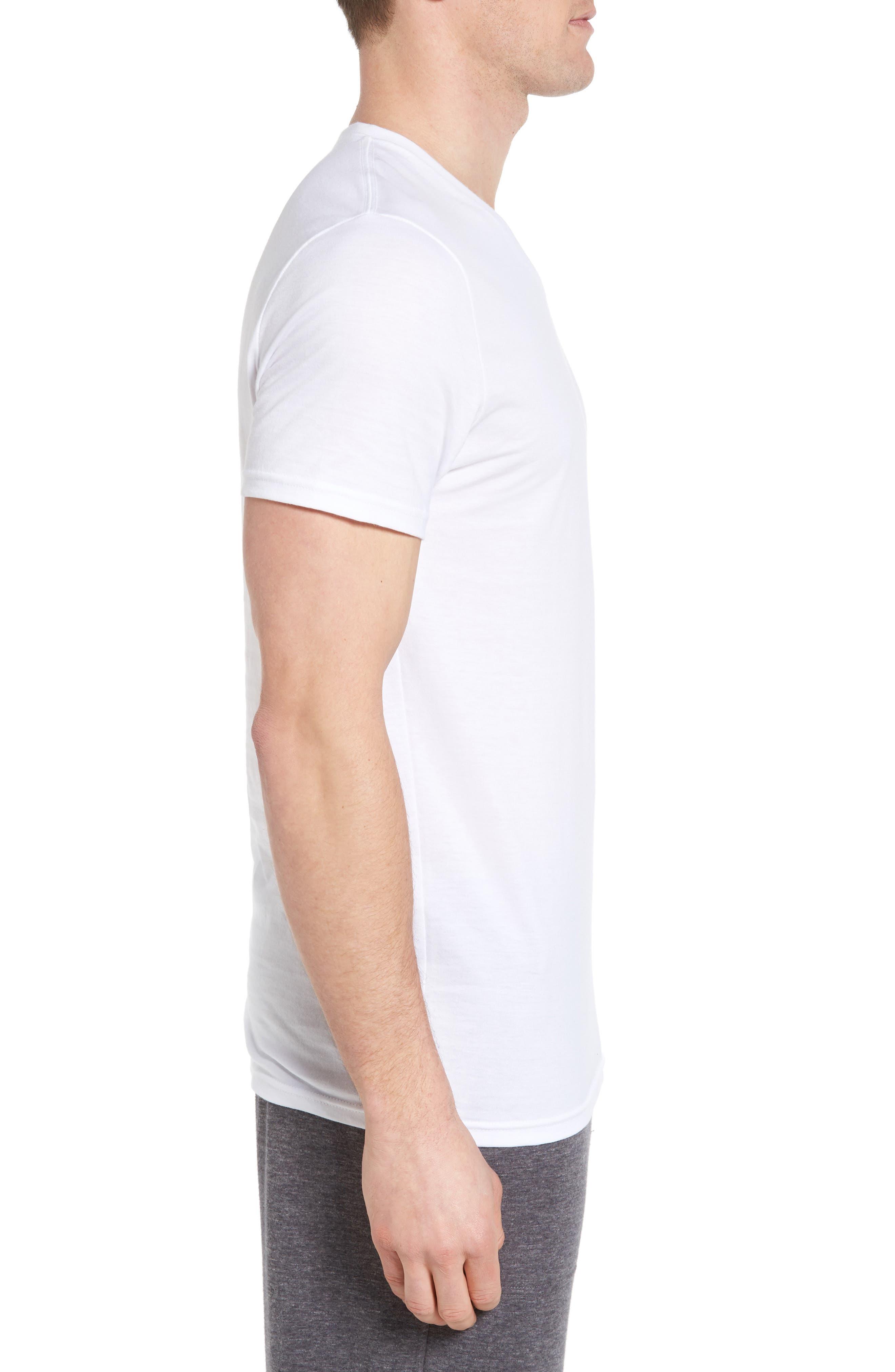 4-Pack Trim Fit Supima<sup>®</sup> Cotton V-Neck T-Shirts,                             Alternate thumbnail 4, color,                             WHITE