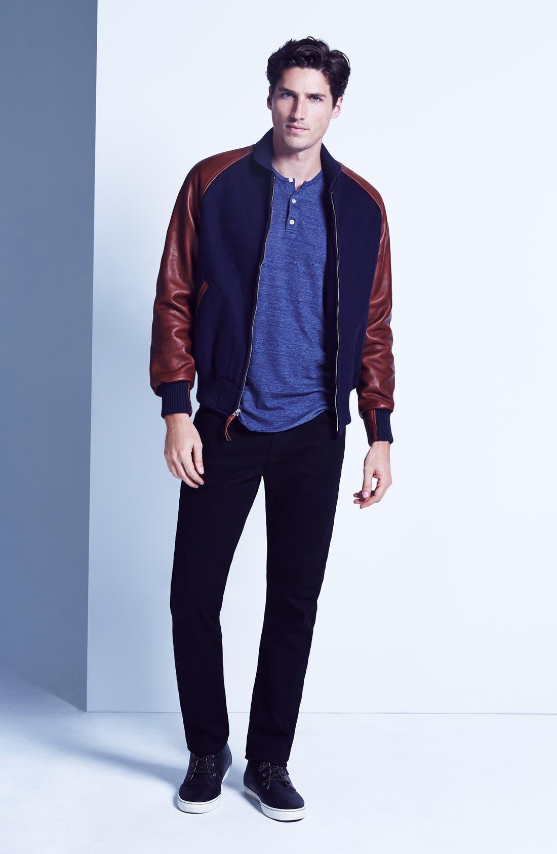 Graduate Slim Straight Leg Jeans,                             Alternate thumbnail 7, color,                             BLACKBIRD