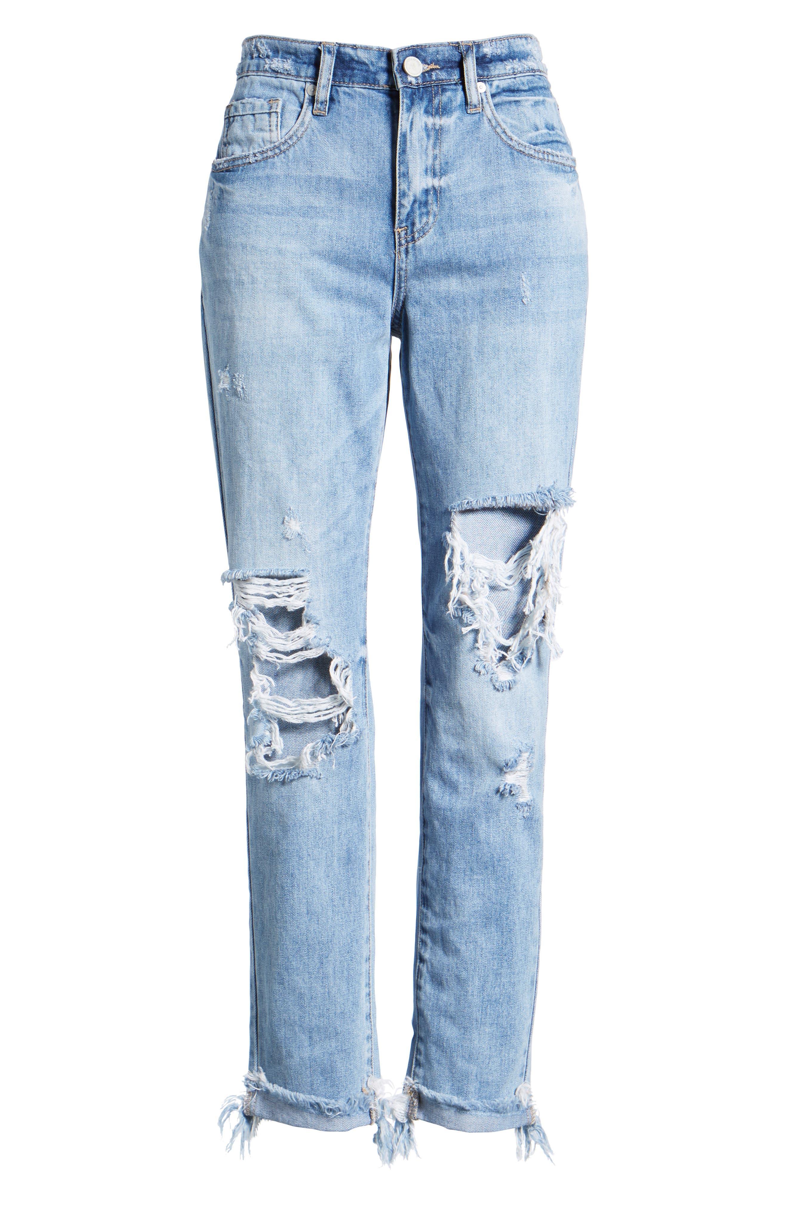 The Rivington Ripped Straight Leg Jeans,                             Alternate thumbnail 7, color,                             420