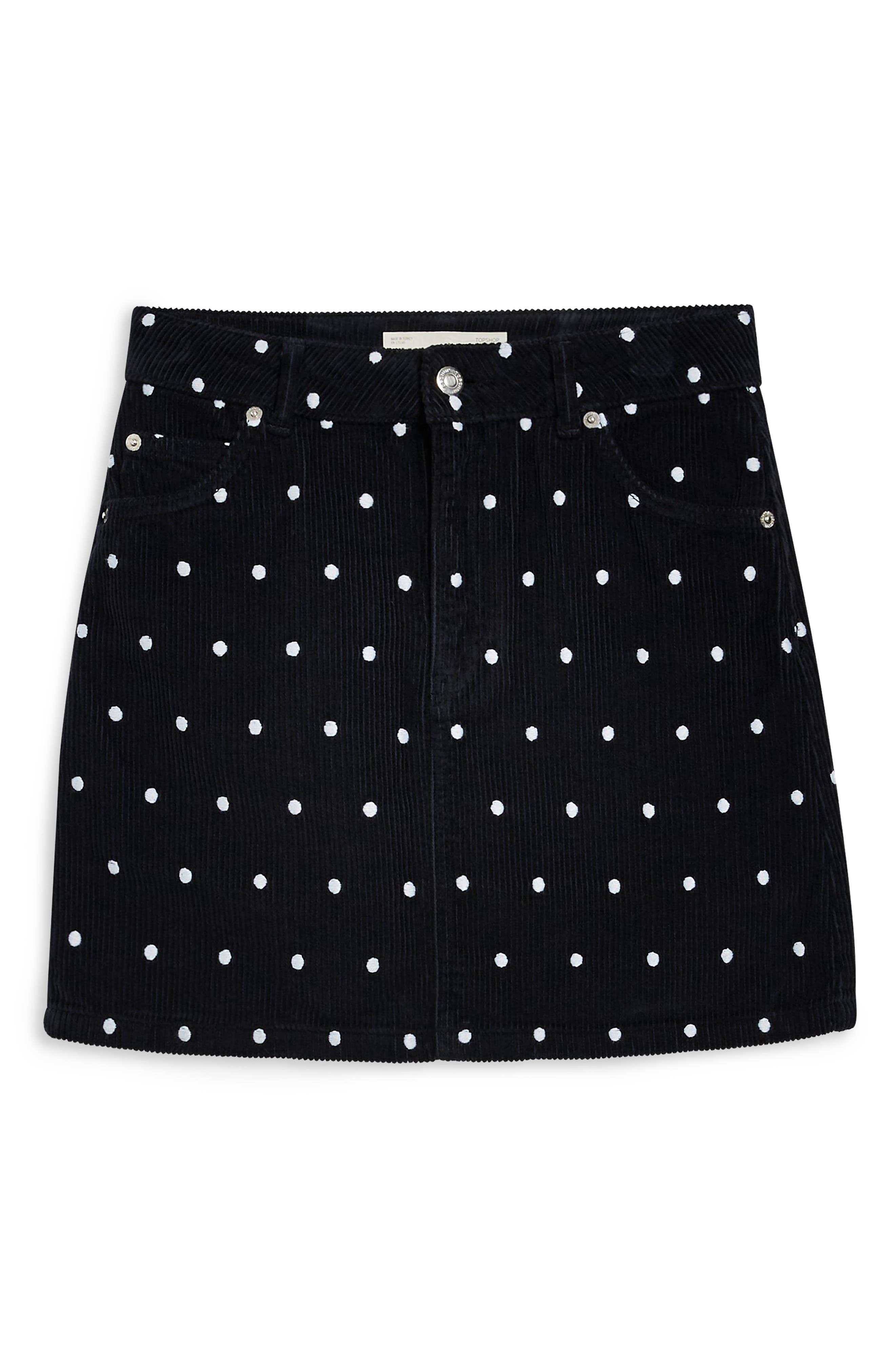 Spot Print Corduroy Skirt,                             Alternate thumbnail 3, color,                             BLACK MULTI