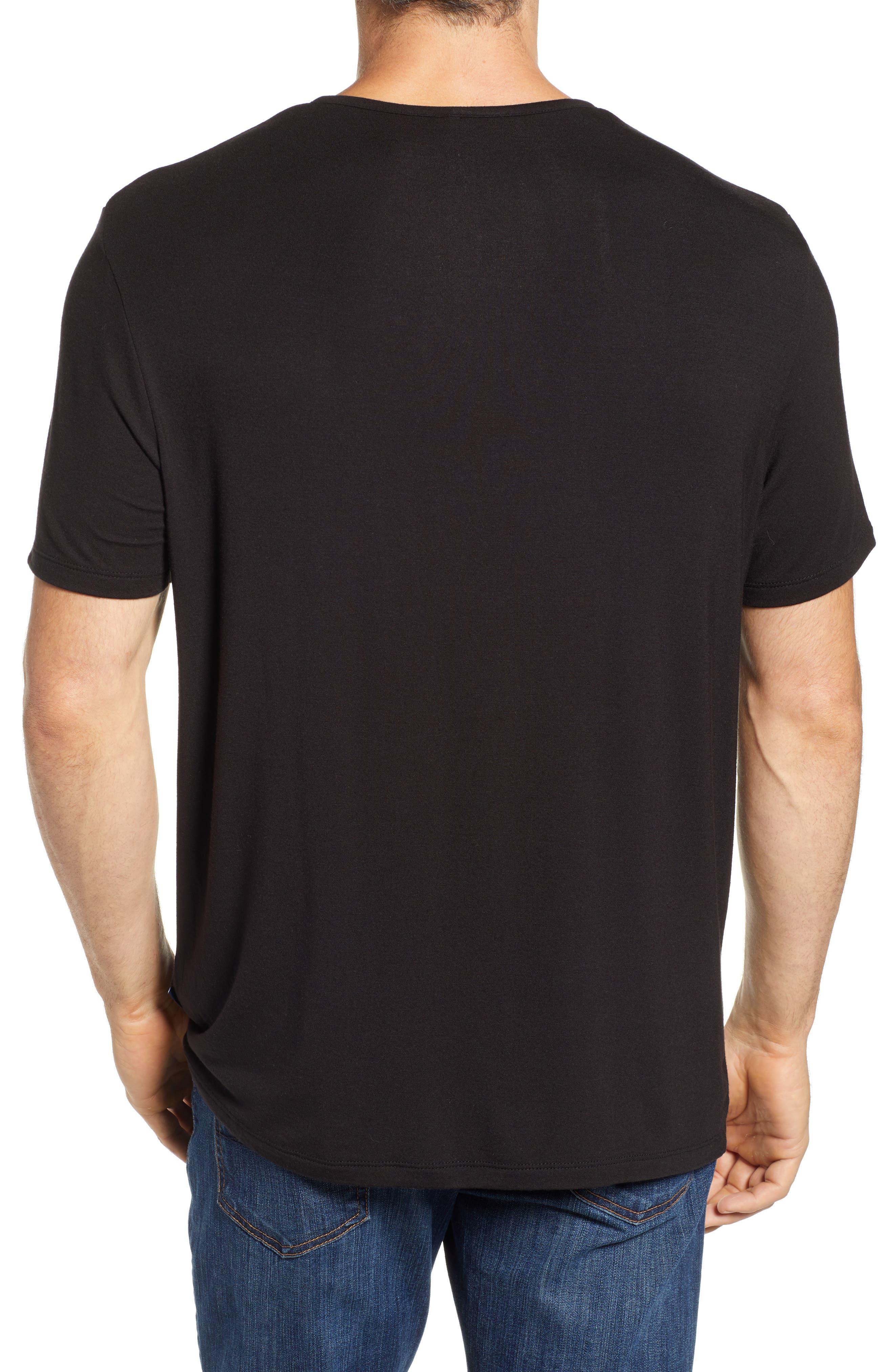 Short Sleeve Stretch Modal Henley,                             Alternate thumbnail 2, color,                             BLACK