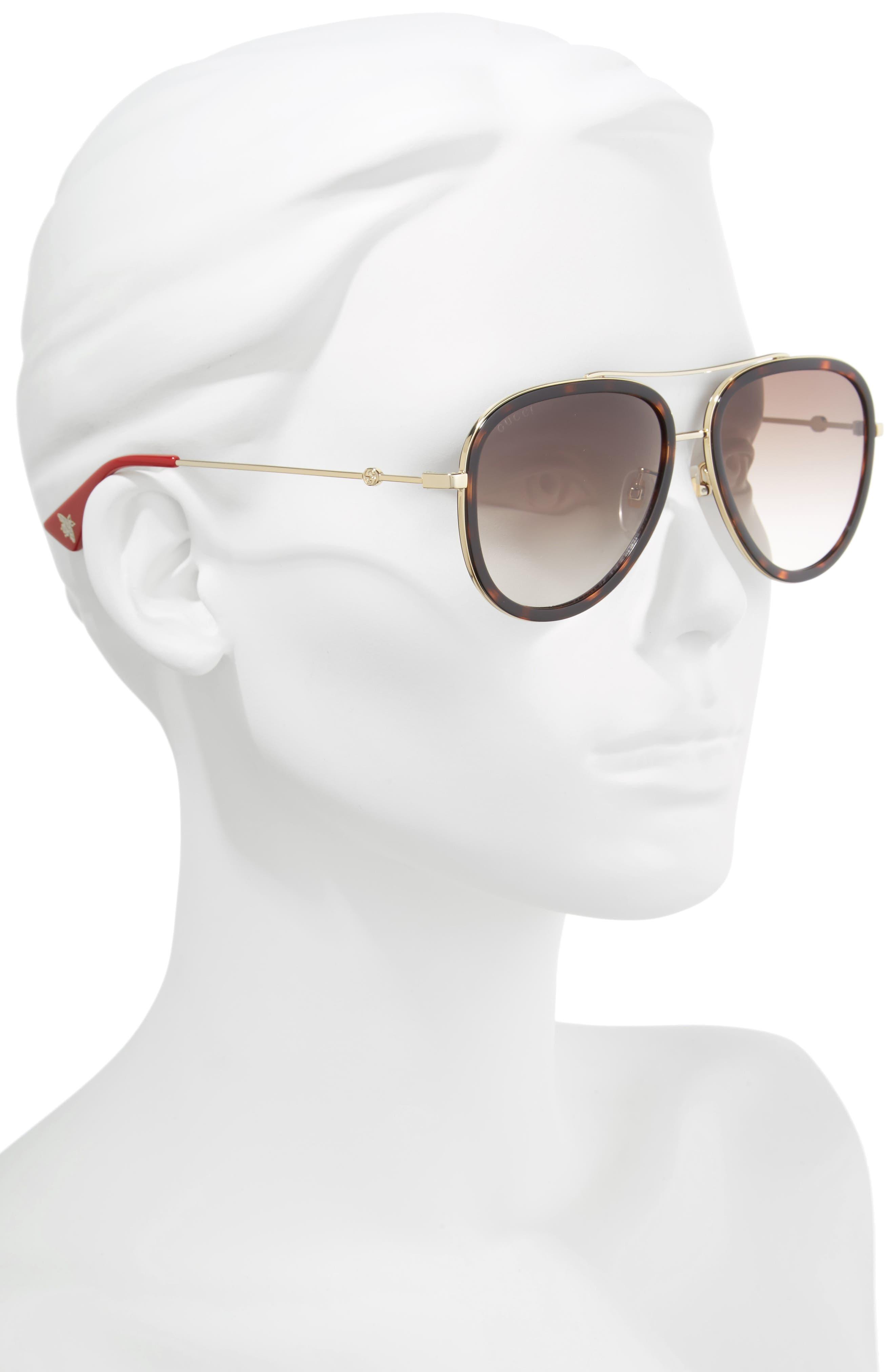 57mm Aviator Sunglasses,                             Alternate thumbnail 2, color,                             GOLD/ RED/ GREEN