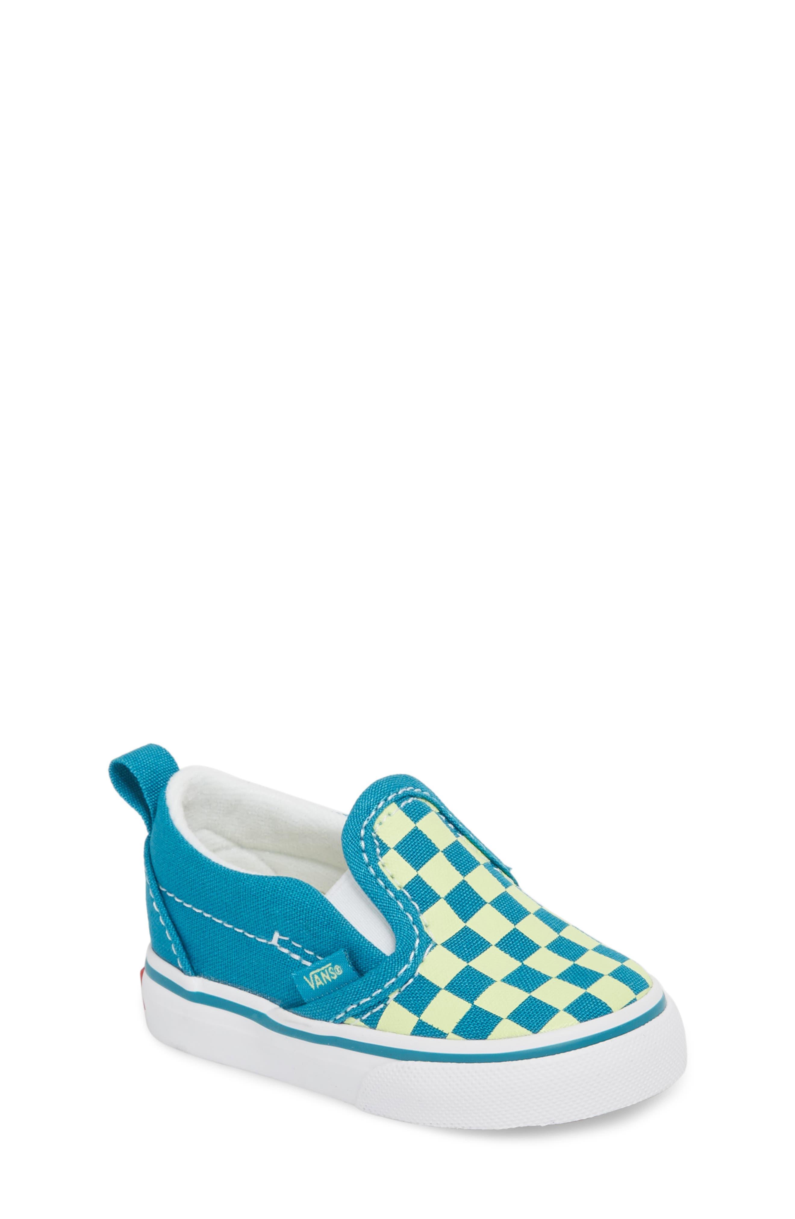 Slip-On Crib Shoe,                             Main thumbnail 1, color,                             ENAMEL BLUE/ SHARP GREEN