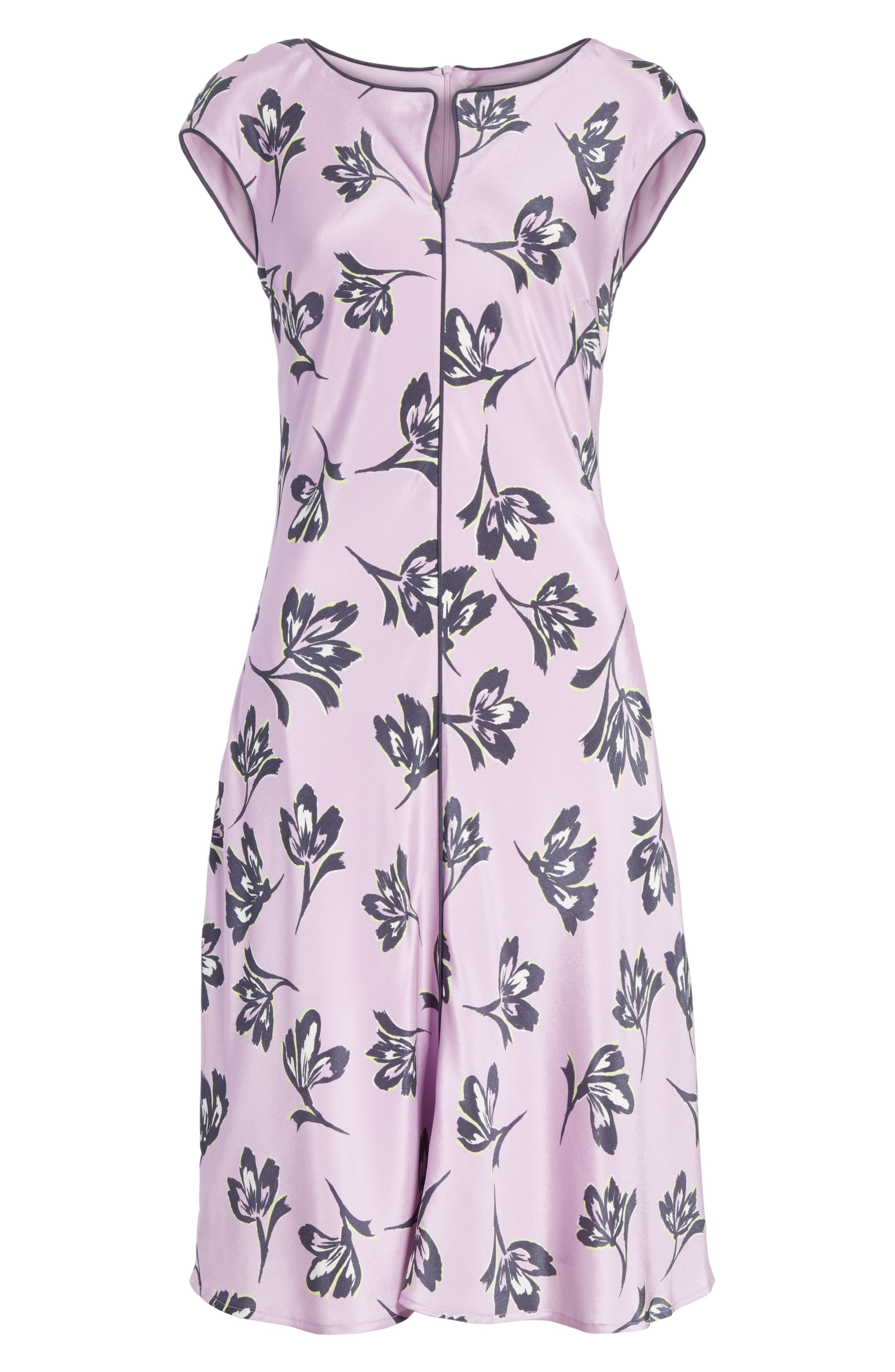 Floral Print Stretch Silk Dress,                             Alternate thumbnail 6, color,