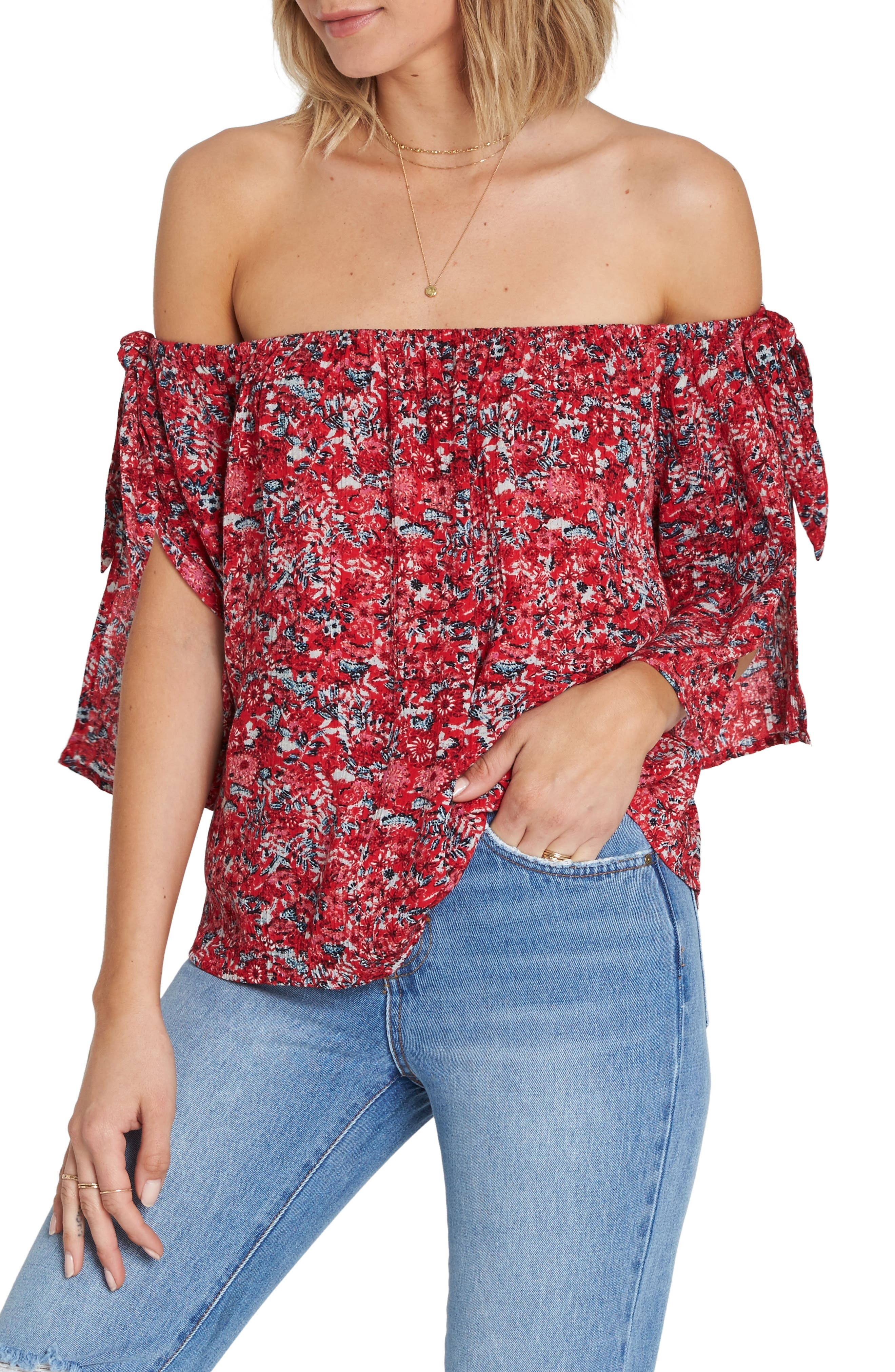 Blues Baby Off the Shoulder Top,                             Main thumbnail 1, color,                             MULTI