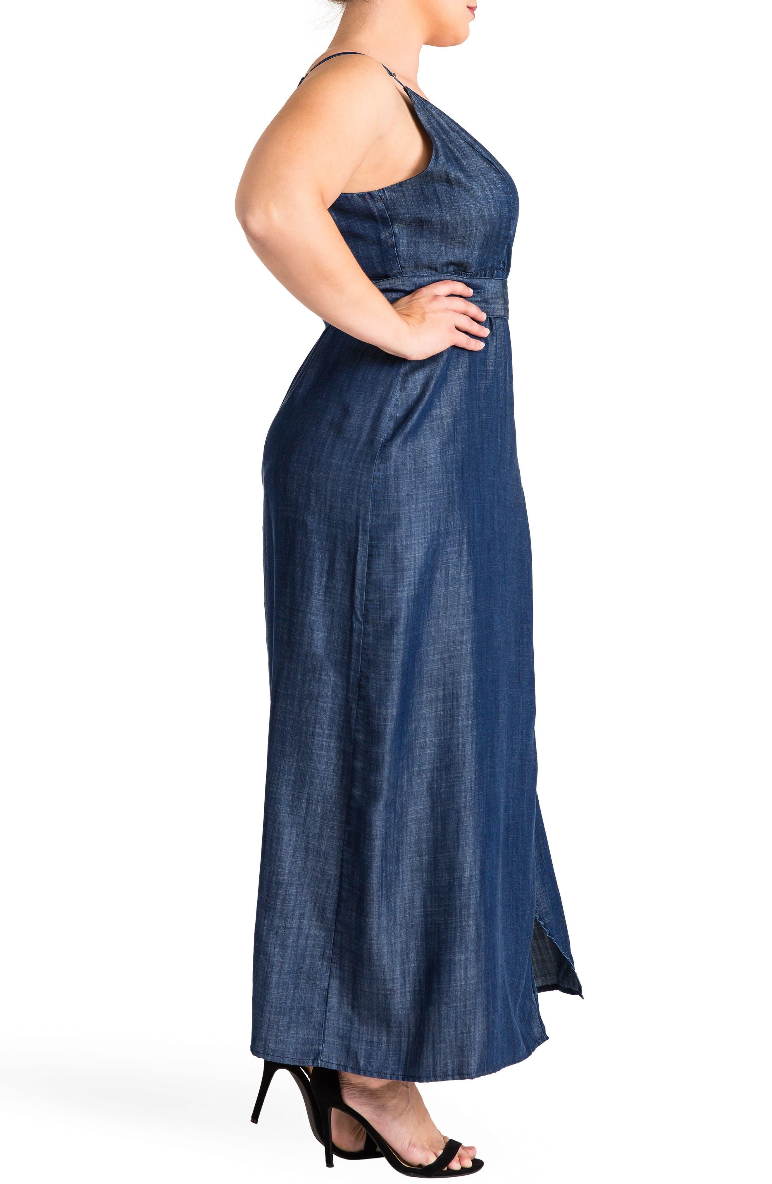 Jodi Wrap Maxi Dress,                             Alternate thumbnail 3, color,                             DARK BLUE