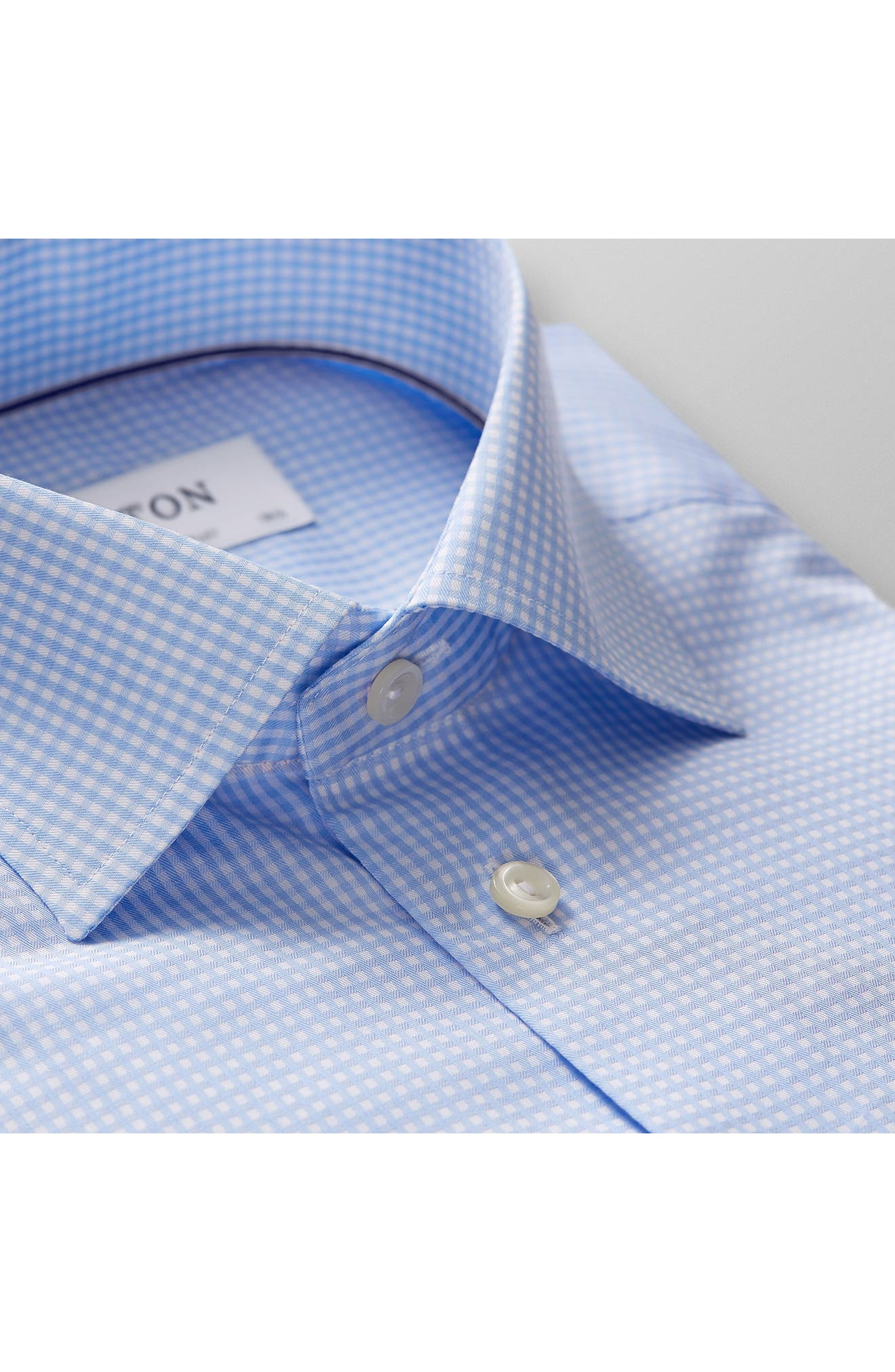 Contemporary Fit Check Dress Shirt,                             Alternate thumbnail 4, color,                             BLUE