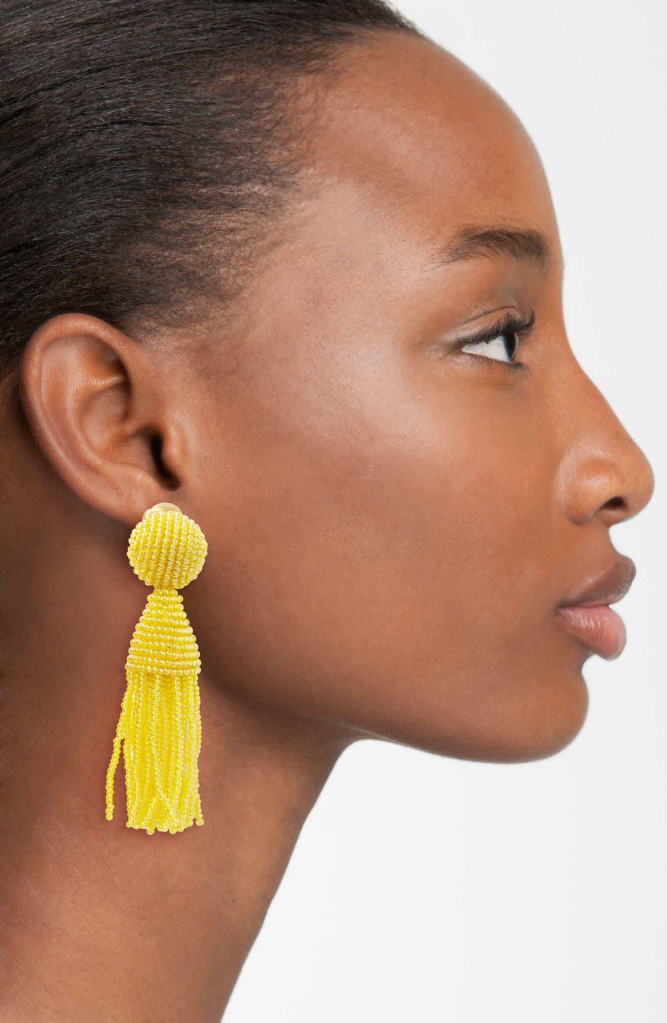 'Classic Short' Tassel Drop Clip Earrings,                             Alternate thumbnail 41, color,