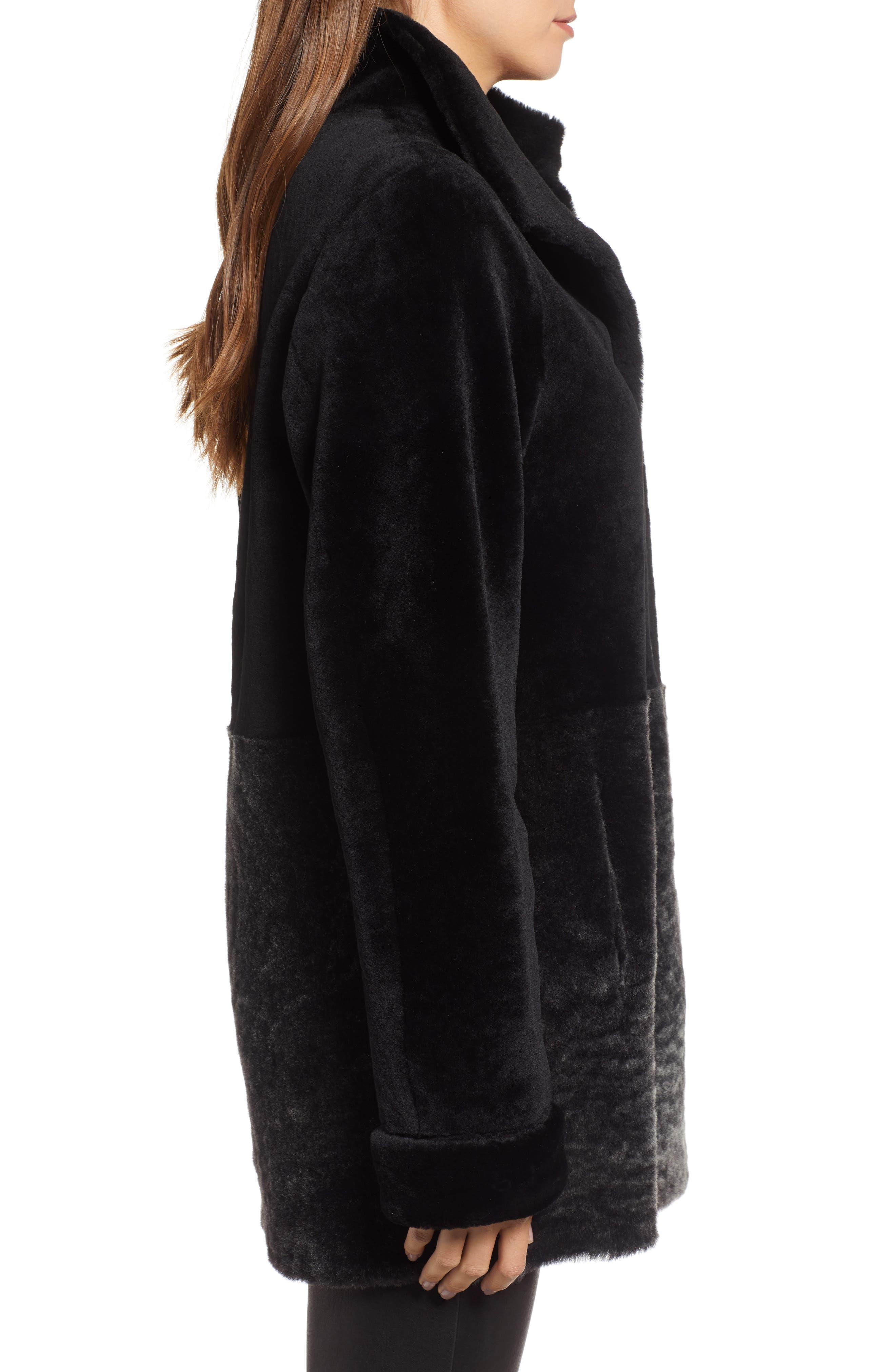 Genuine Shearling Coat,                             Alternate thumbnail 3, color,                             003