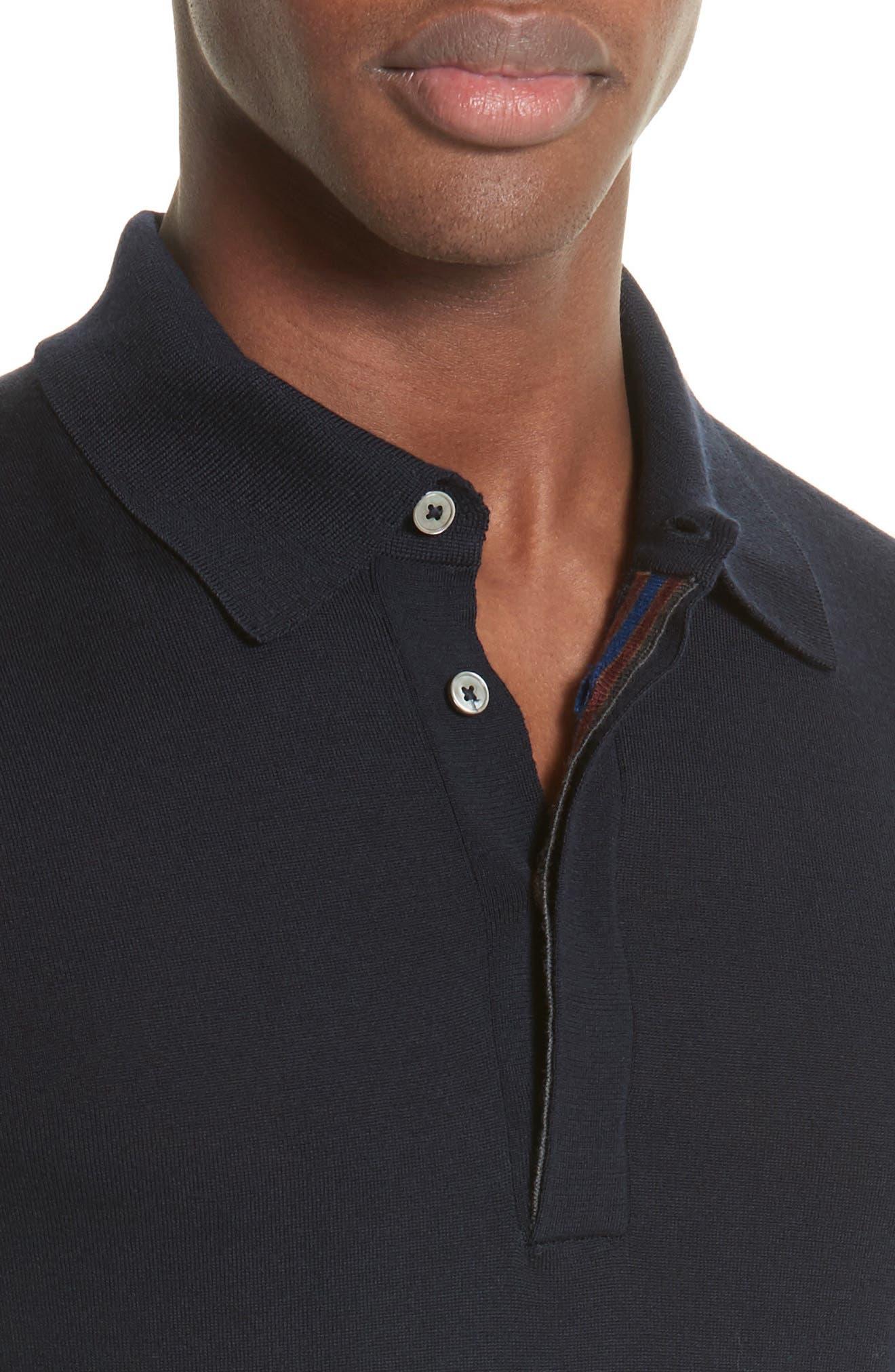Merino Wool Long Sleeve Polo,                             Alternate thumbnail 4, color,                             410
