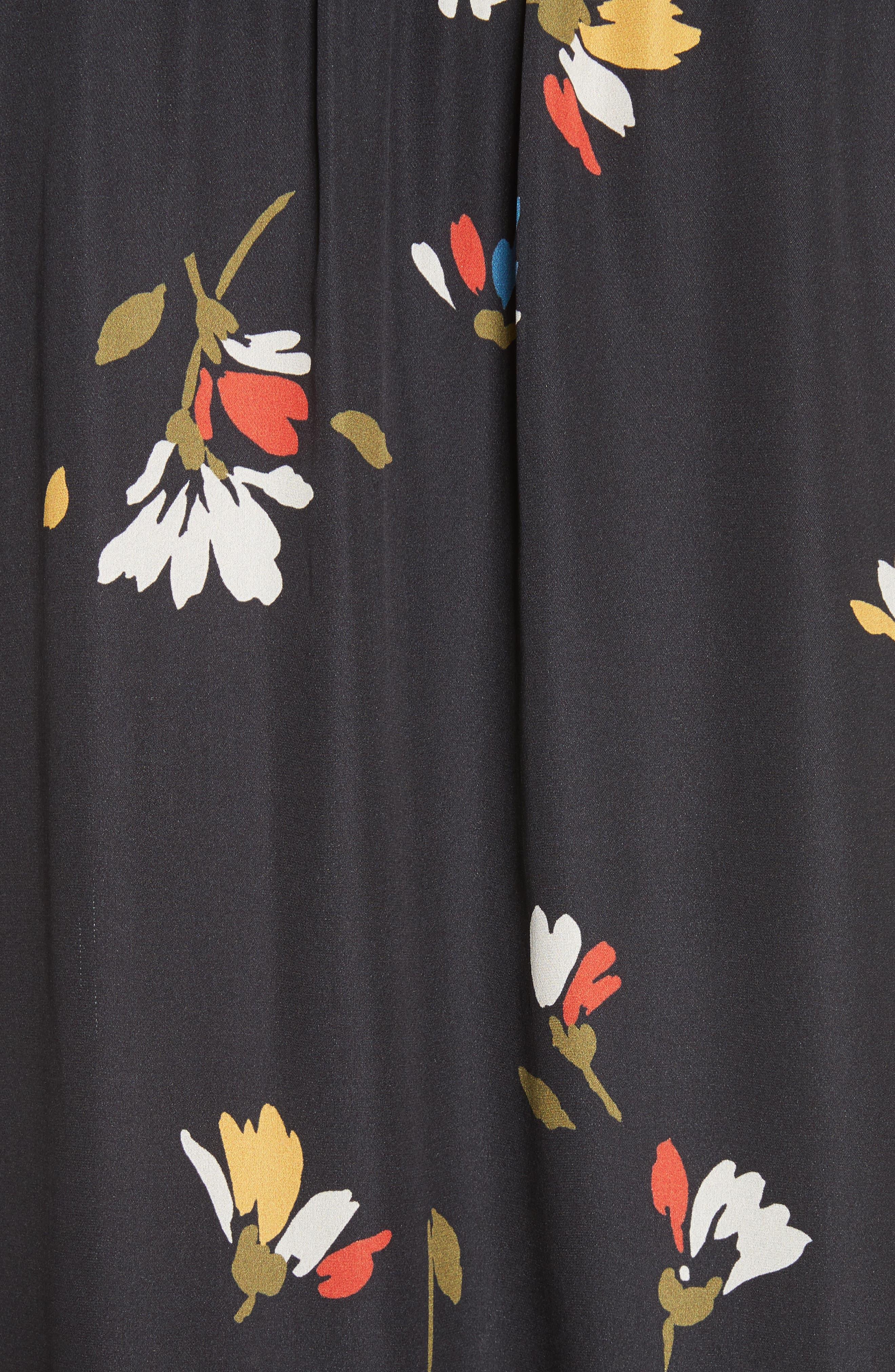 Agrafena Ruffle Hem Silk Dress,                             Alternate thumbnail 5, color,                             002