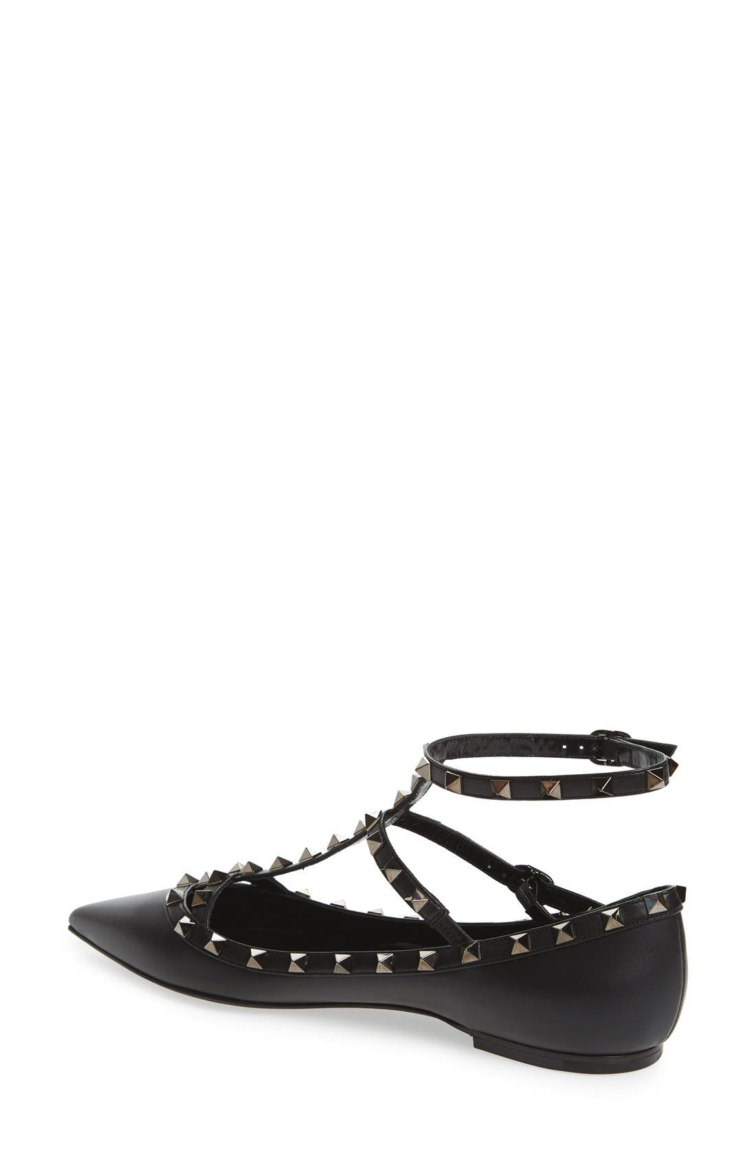 'Rockstud' Double Ankle Strap Pointy Toe Flat,                             Alternate thumbnail 5, color,                             BLACK LEATHER