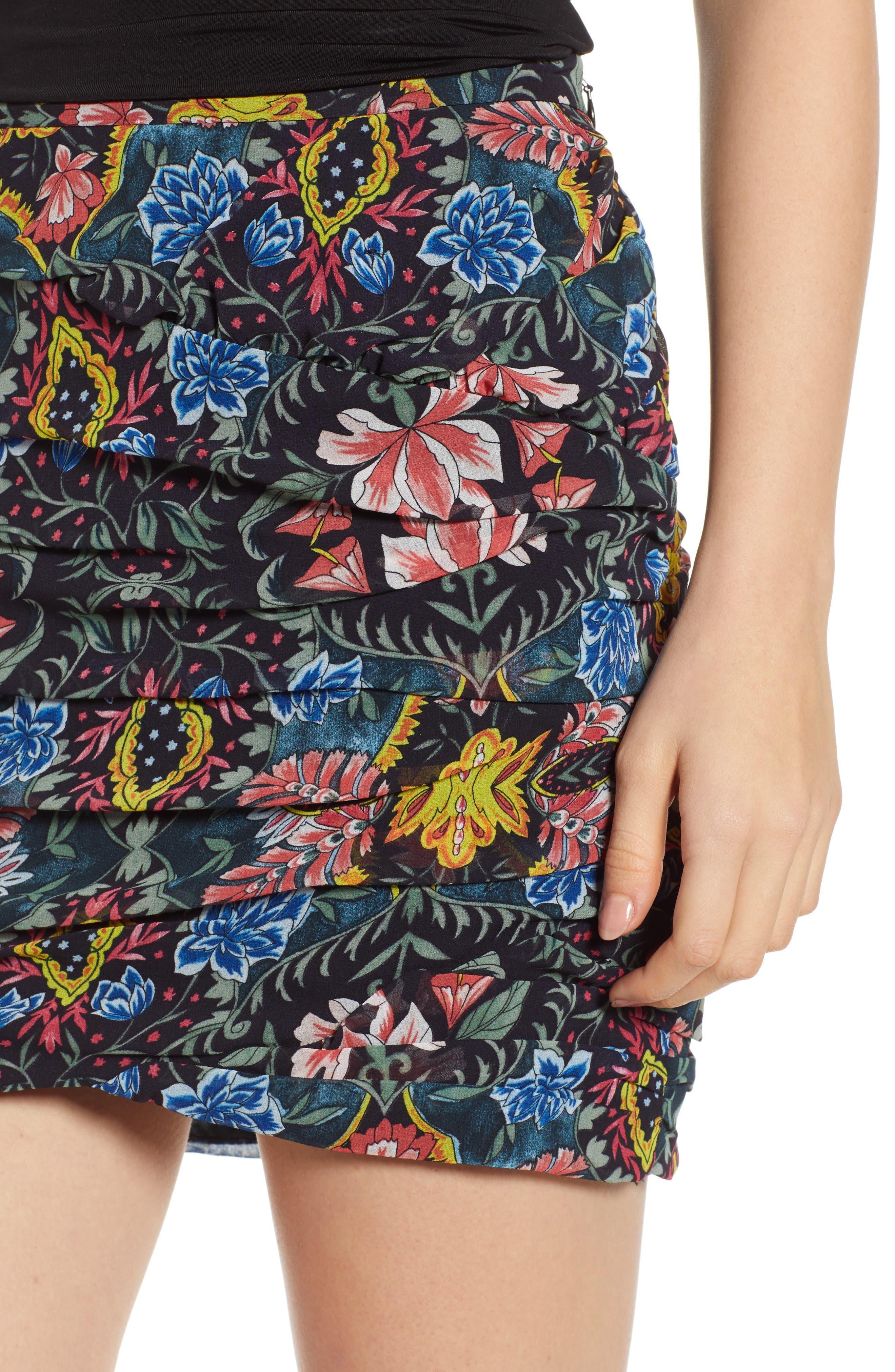 Adalynn Floral Miniskirt,                             Alternate thumbnail 4, color,                             MULTI