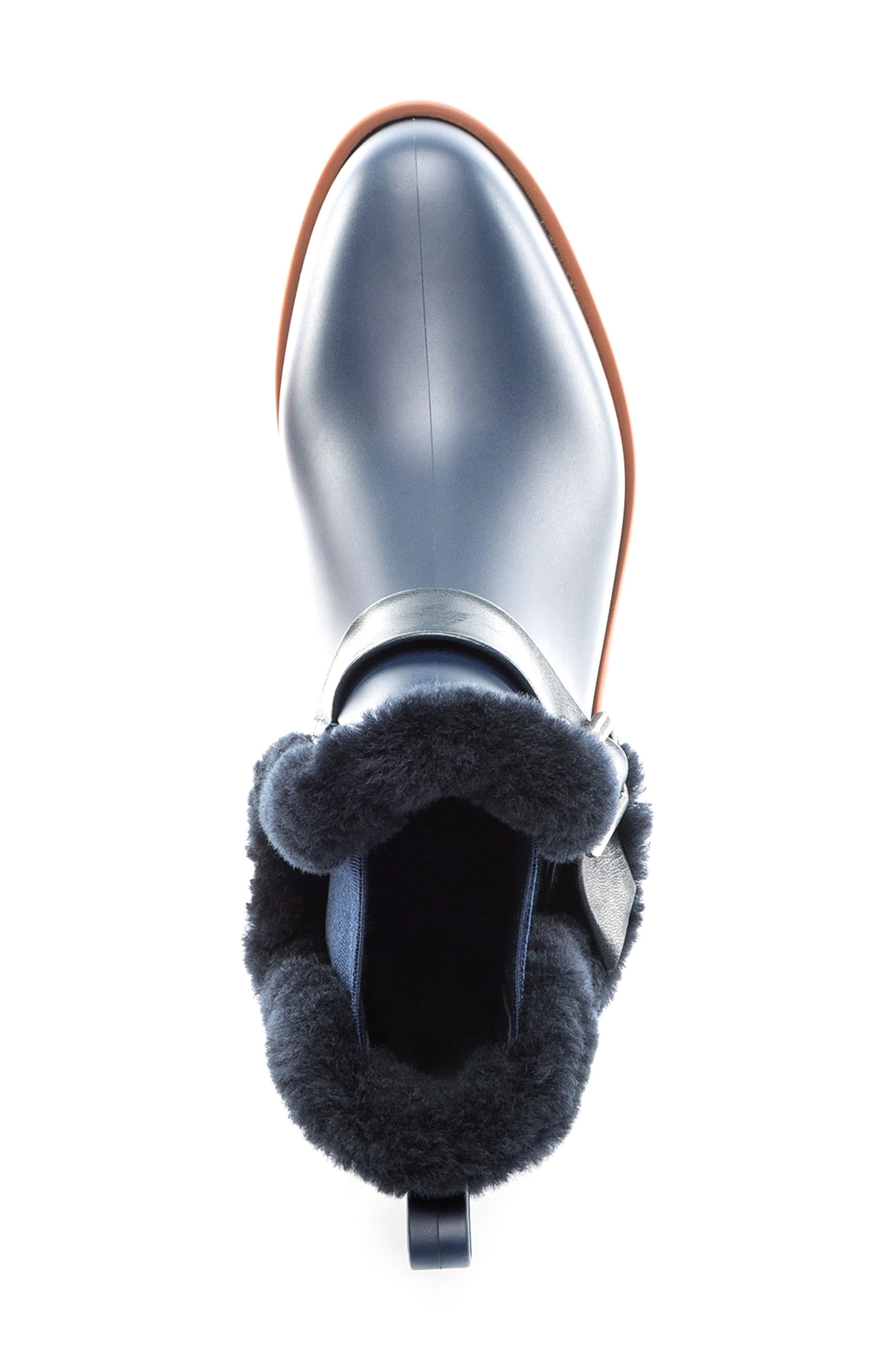 Bernardo Zain Genuine Shearling Trim Rain Boot,                             Alternate thumbnail 10, color,