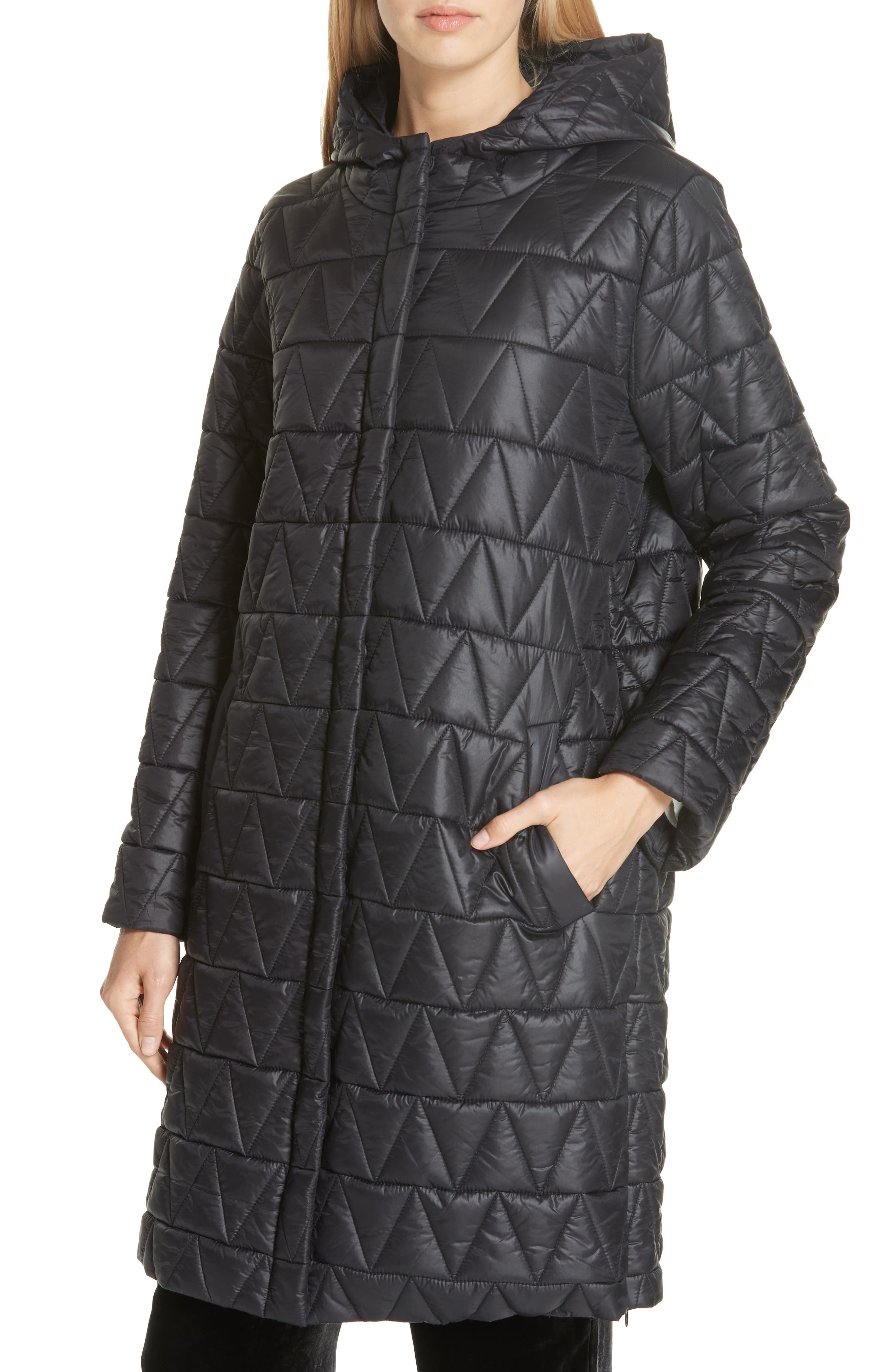 Hooded Quilted Coat,                             Alternate thumbnail 4, color,                             001
