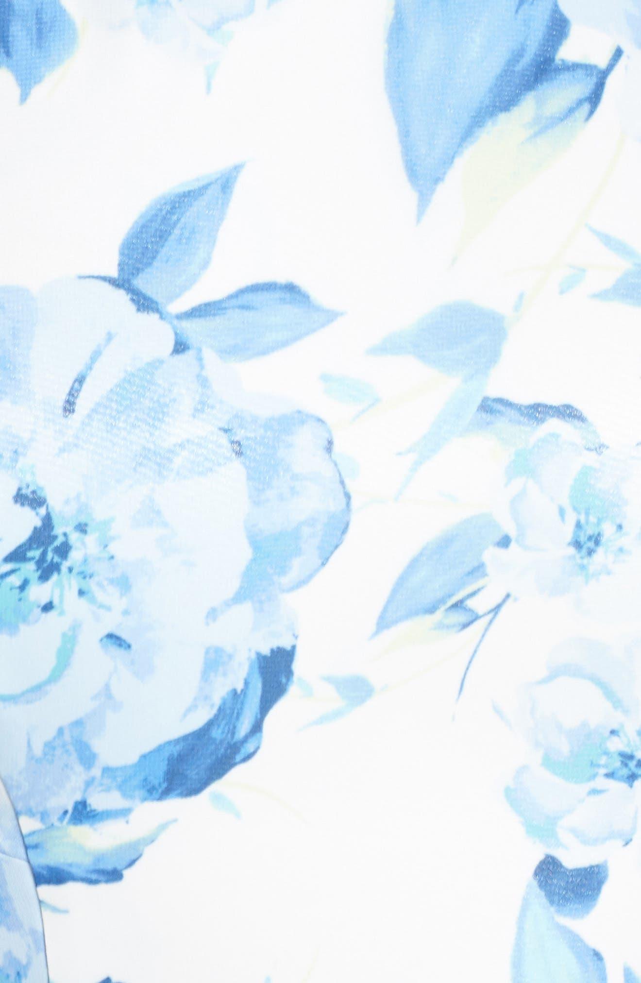 MORGAN & CO.,                             Floral Print Strappy Back Evening Dress,                             Alternate thumbnail 6, color,                             WHITE/ MULTI