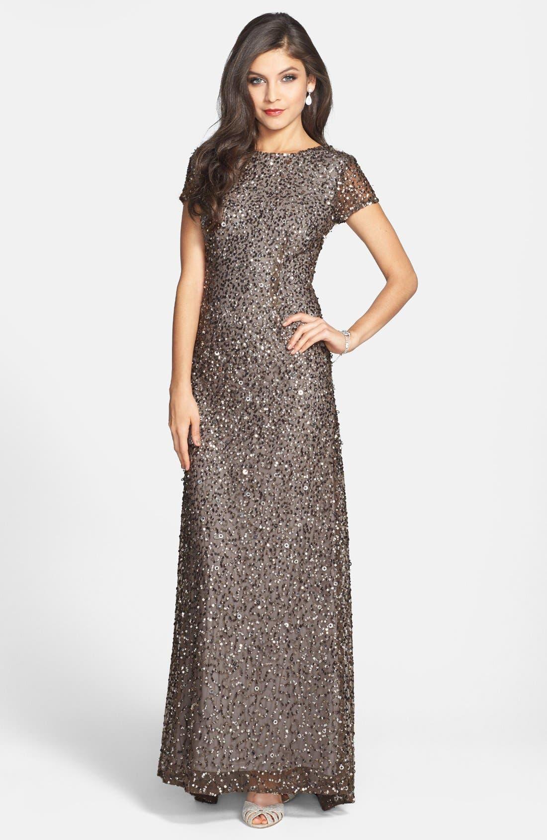 Short Sleeve Sequin Mesh Gown,                             Main thumbnail 1, color,                             LEAD