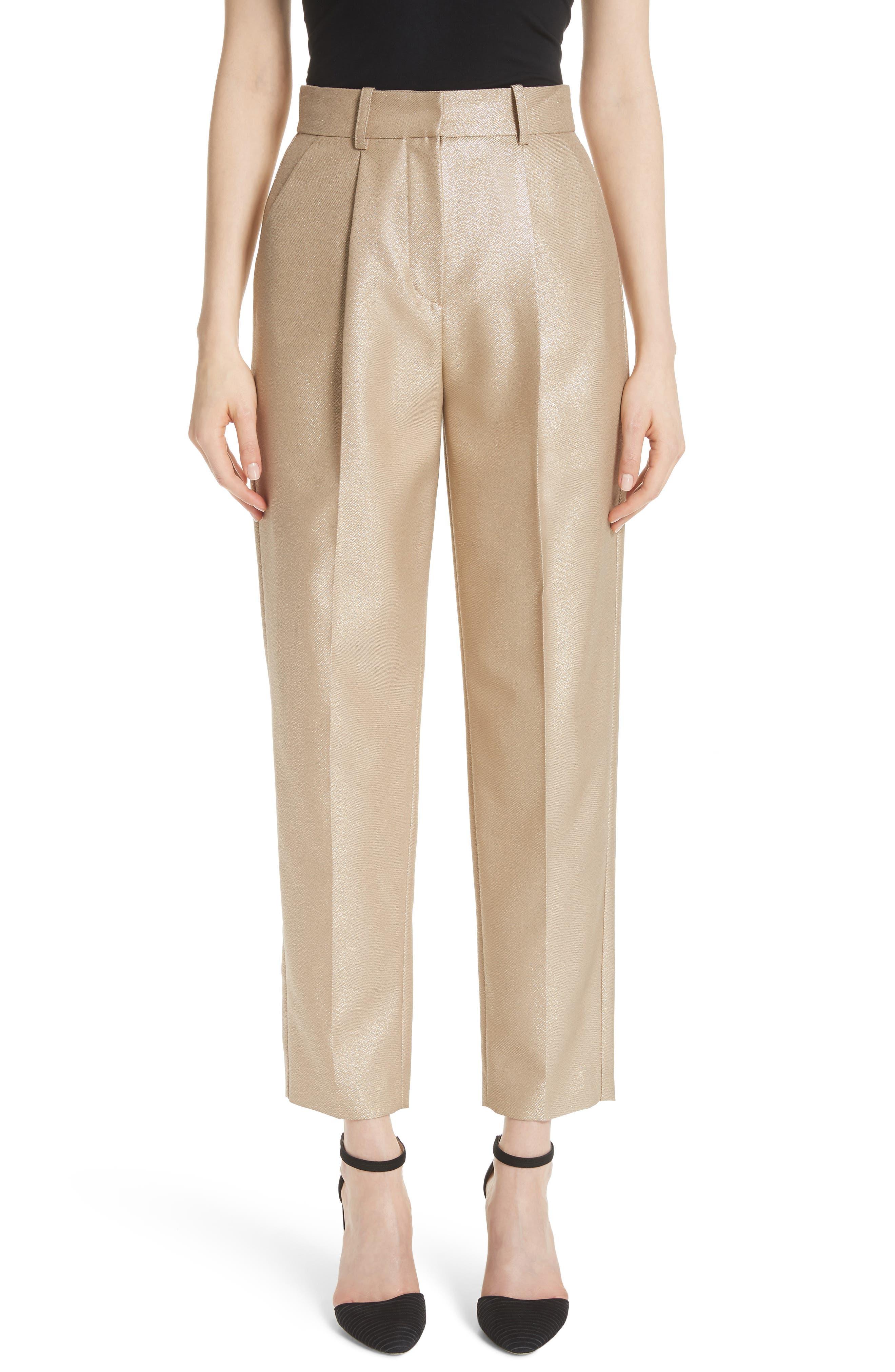 High-Waist Straight-Leg Metallic-Wool Pants in Gold