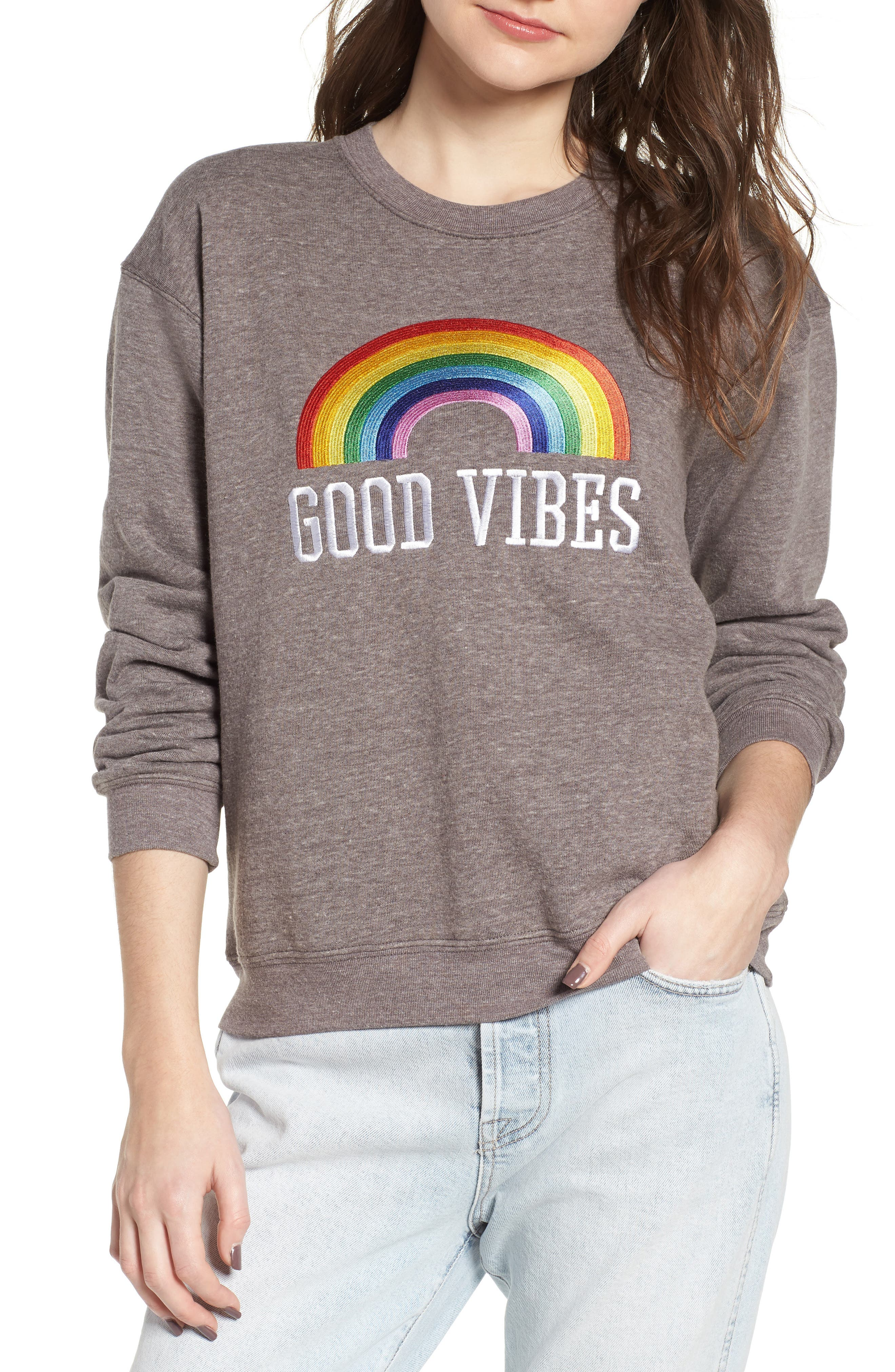 Good Vibes Rainbow Sweatshirt,                             Main thumbnail 1, color,                             HEATHER GREY
