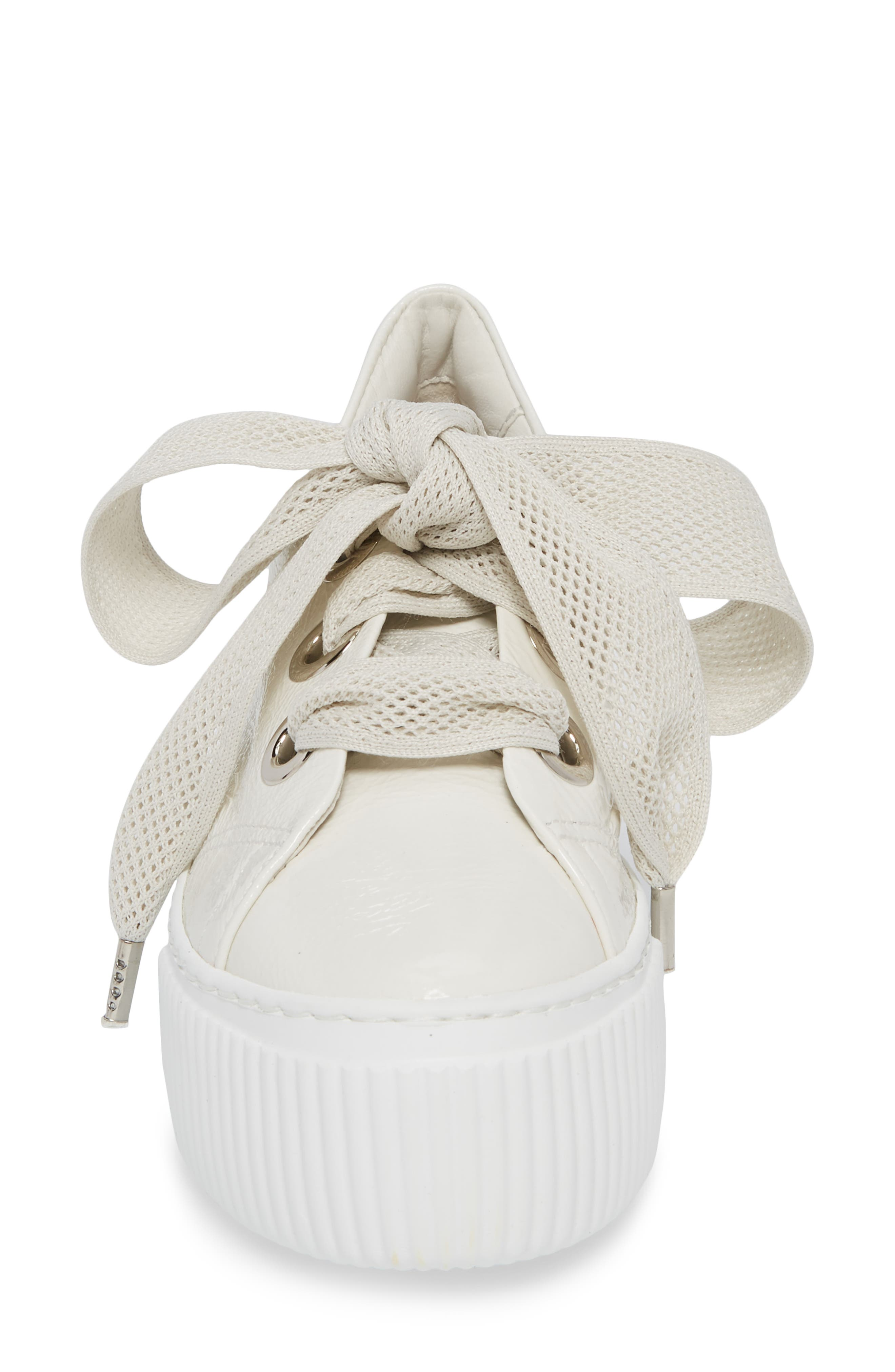 Platform Sneaker,                             Alternate thumbnail 4, color,                             WHITE GLAMMY LEATHER