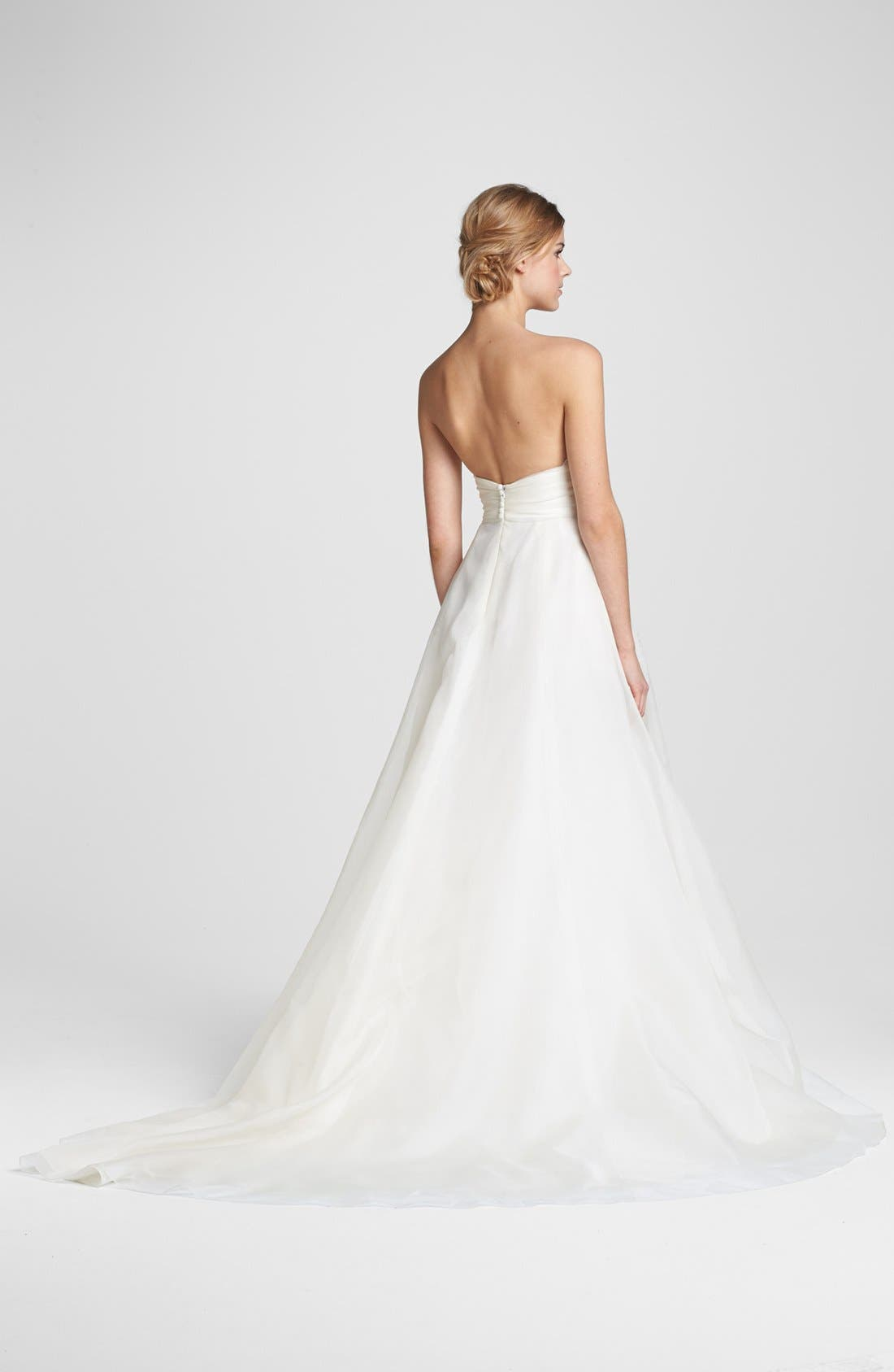 Lace & Silk Organza Ball Gown,                             Alternate thumbnail 2, color,                             IVORY