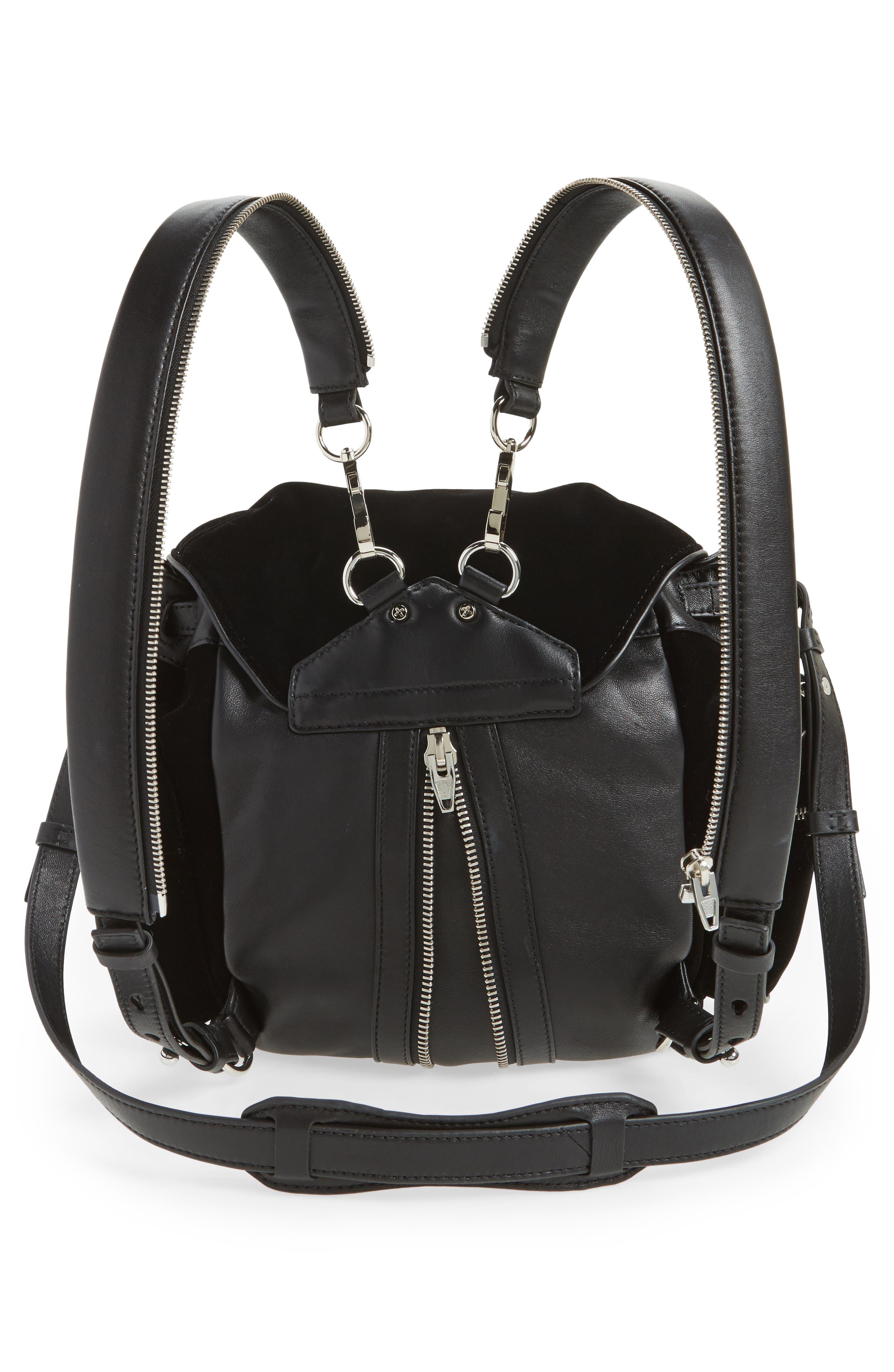 Mini Marti Velvet & Lambskin Leather Backpack,                             Alternate thumbnail 3, color,                             001