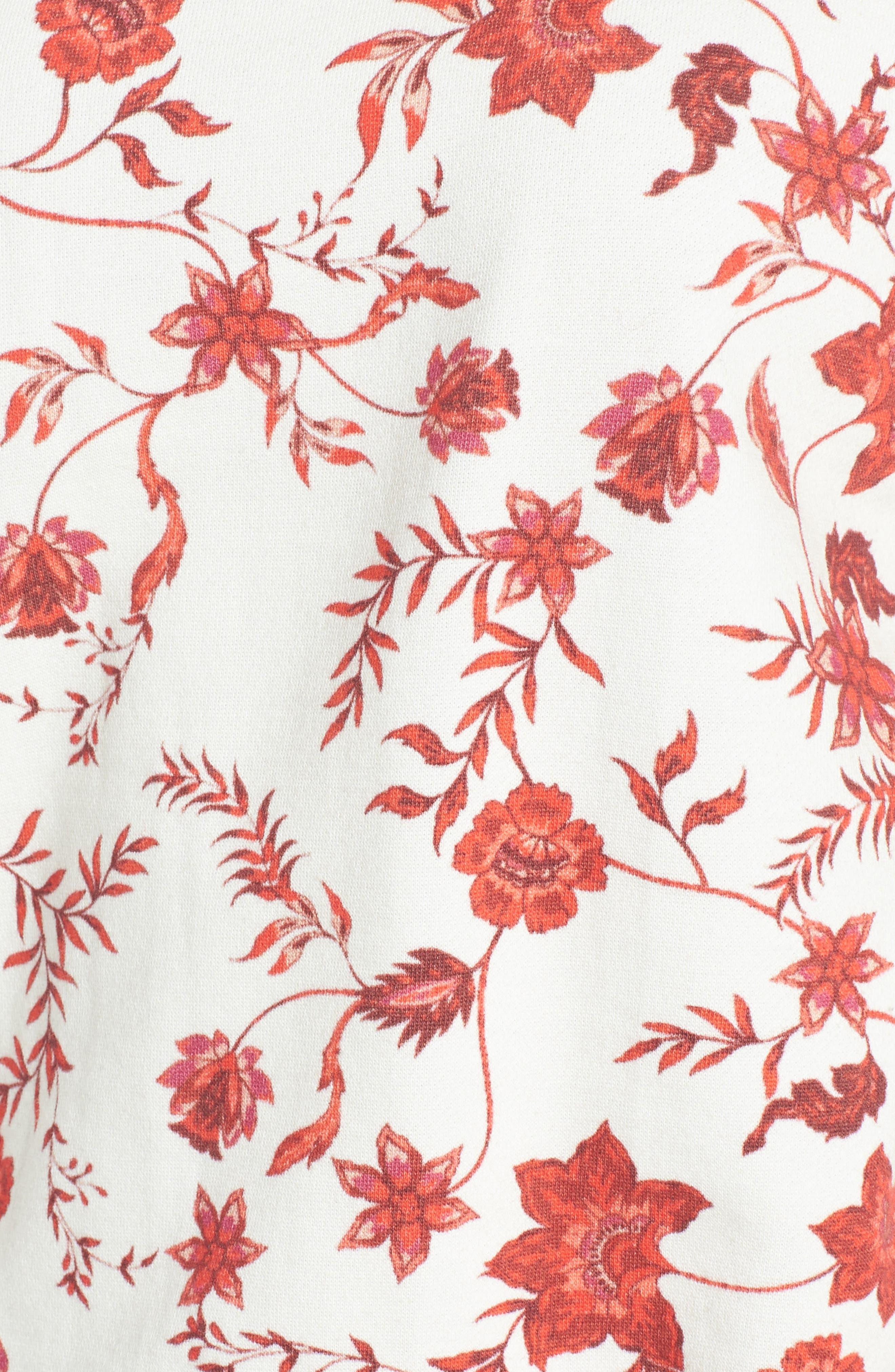 REBECCA MINKOFF,                             Gracie Cold Shoulder Floral Sweatshirt,                             Alternate thumbnail 6, color,                             900