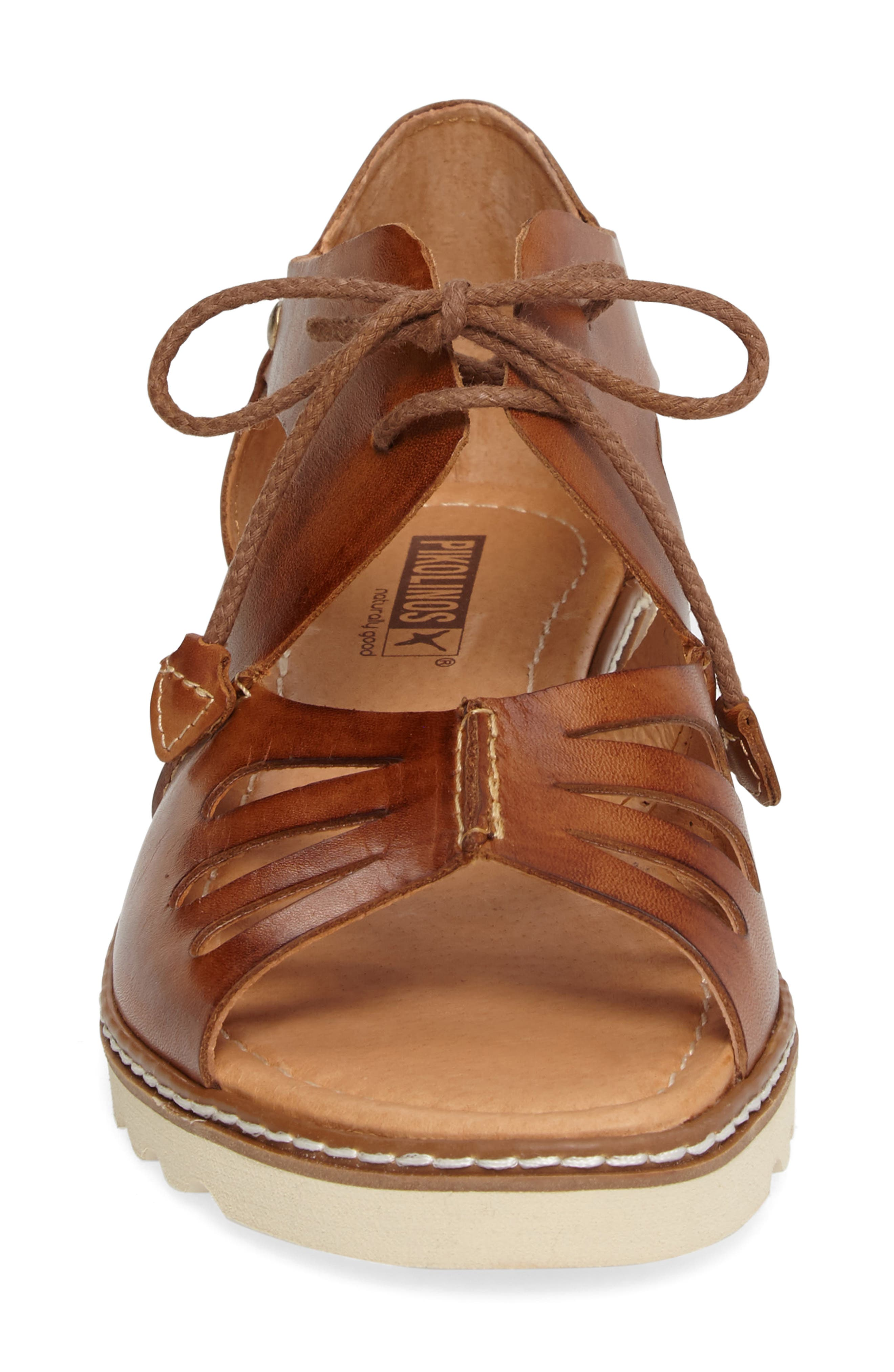 PIKOLINOS,                             Alcudia Lace-Up Sandal,                             Alternate thumbnail 4, color,                             BRANDY LEATHER