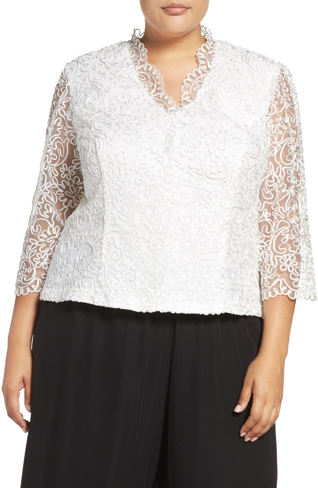 Embroidered Illusion Sleeve Blouse,                             Main thumbnail 2, color,