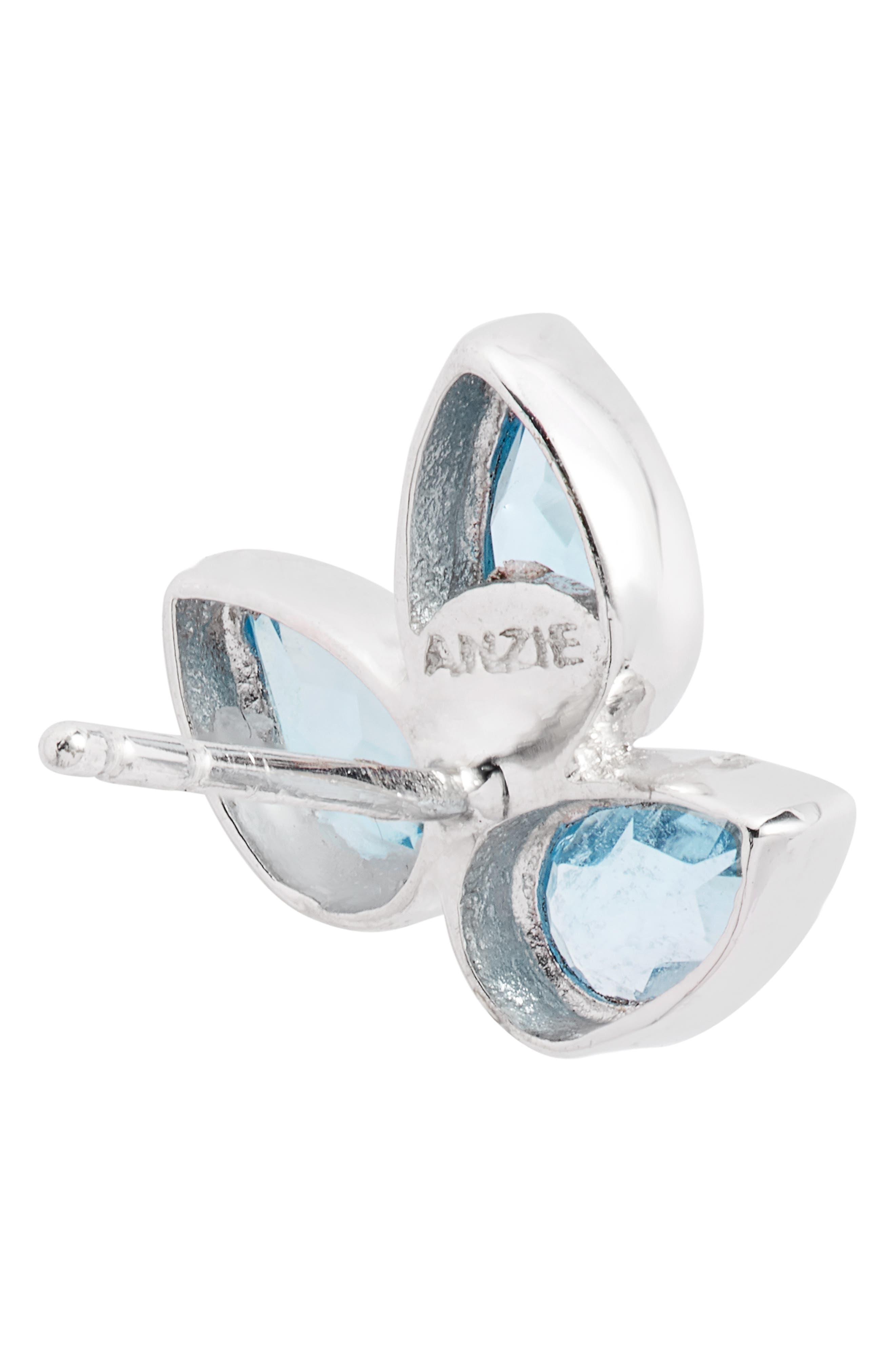 ANZIE,                             Micro Bouquet White Topaz Post Earrings,                             Alternate thumbnail 4, color,                             BLUE TOPAZ