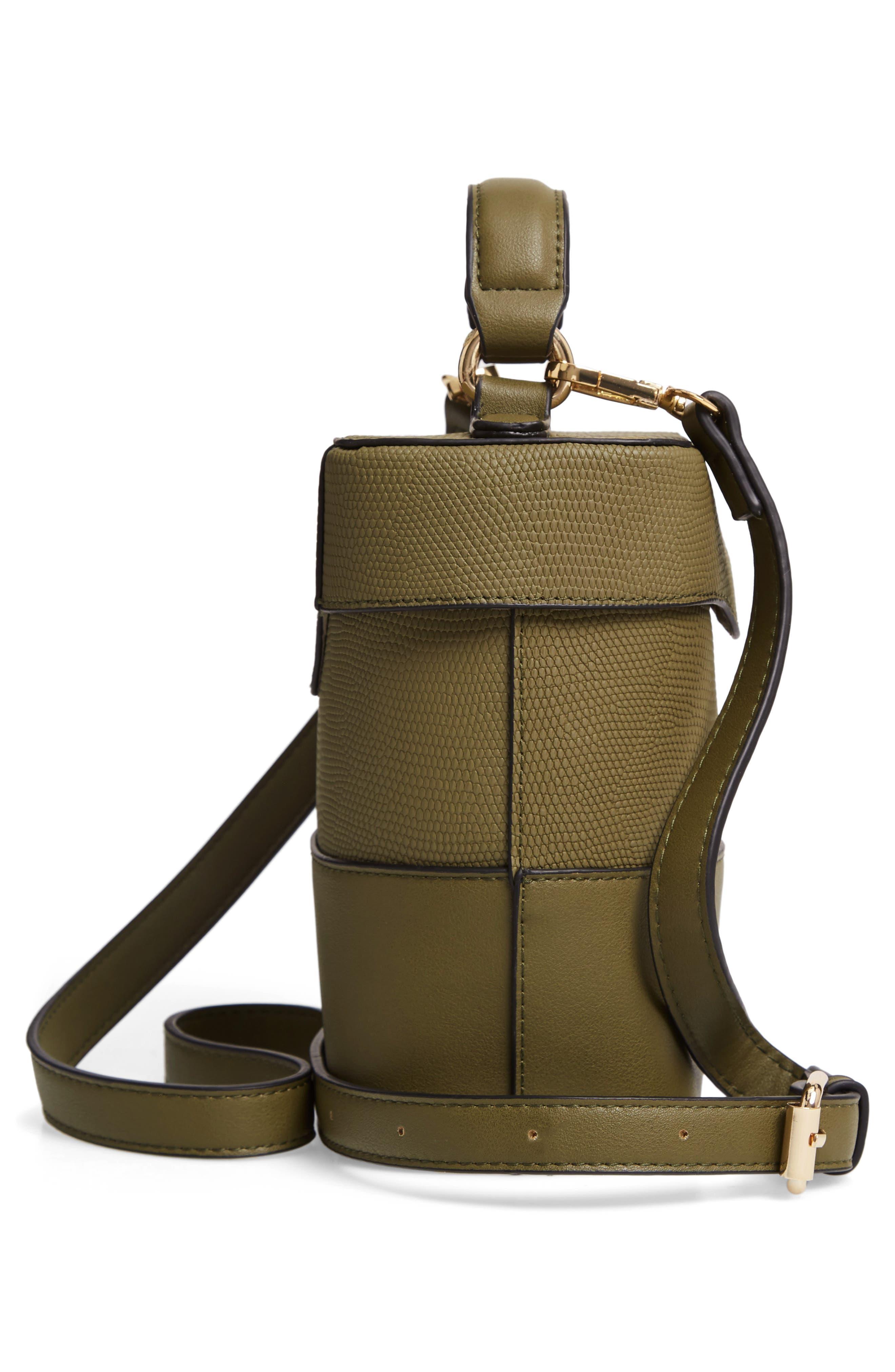 Bicolor Faux Leather Cylinder Bag,                             Alternate thumbnail 5, color,                             OLIVE