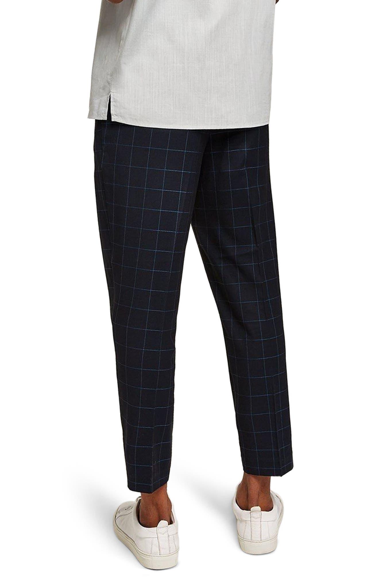 Slim Fit Grid Check Crop Pants,                             Alternate thumbnail 2, color,                             NAVY BLUE