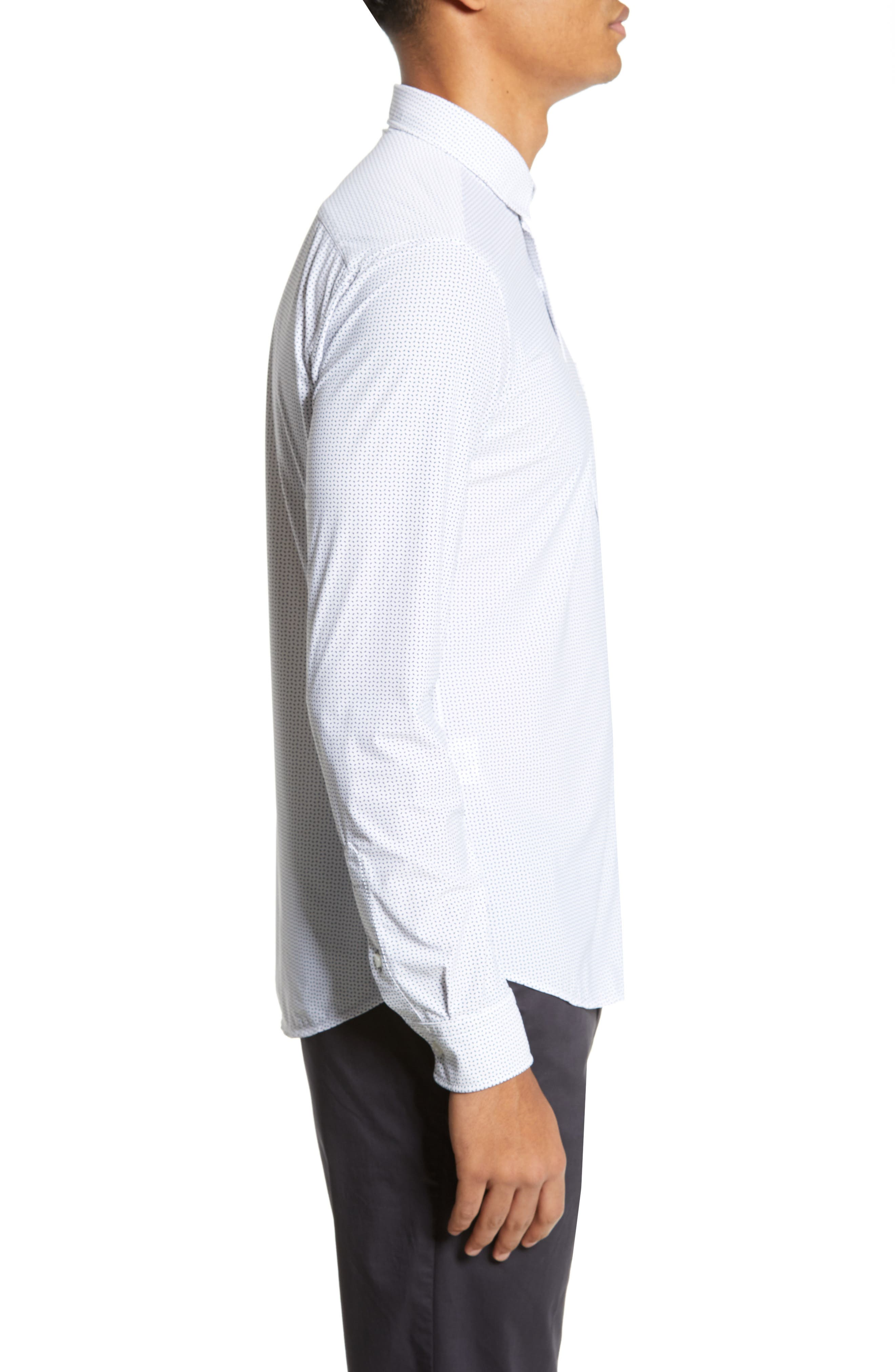Rikki Slim Fit Microprint Sport Shirt,                             Alternate thumbnail 3, color,                             WHITE MICRO