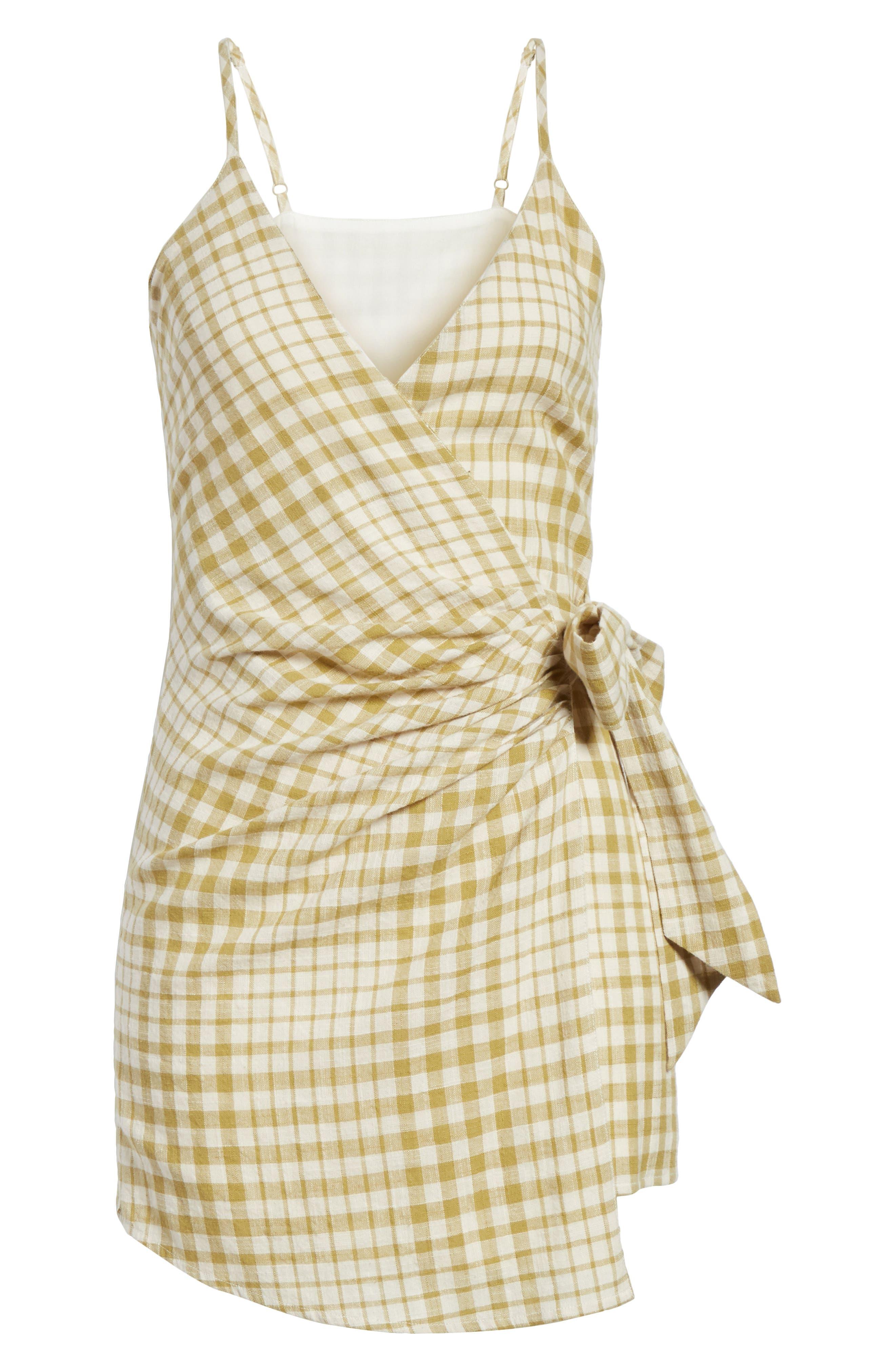 Nodia Check Wrap Minidress,                             Alternate thumbnail 14, color,