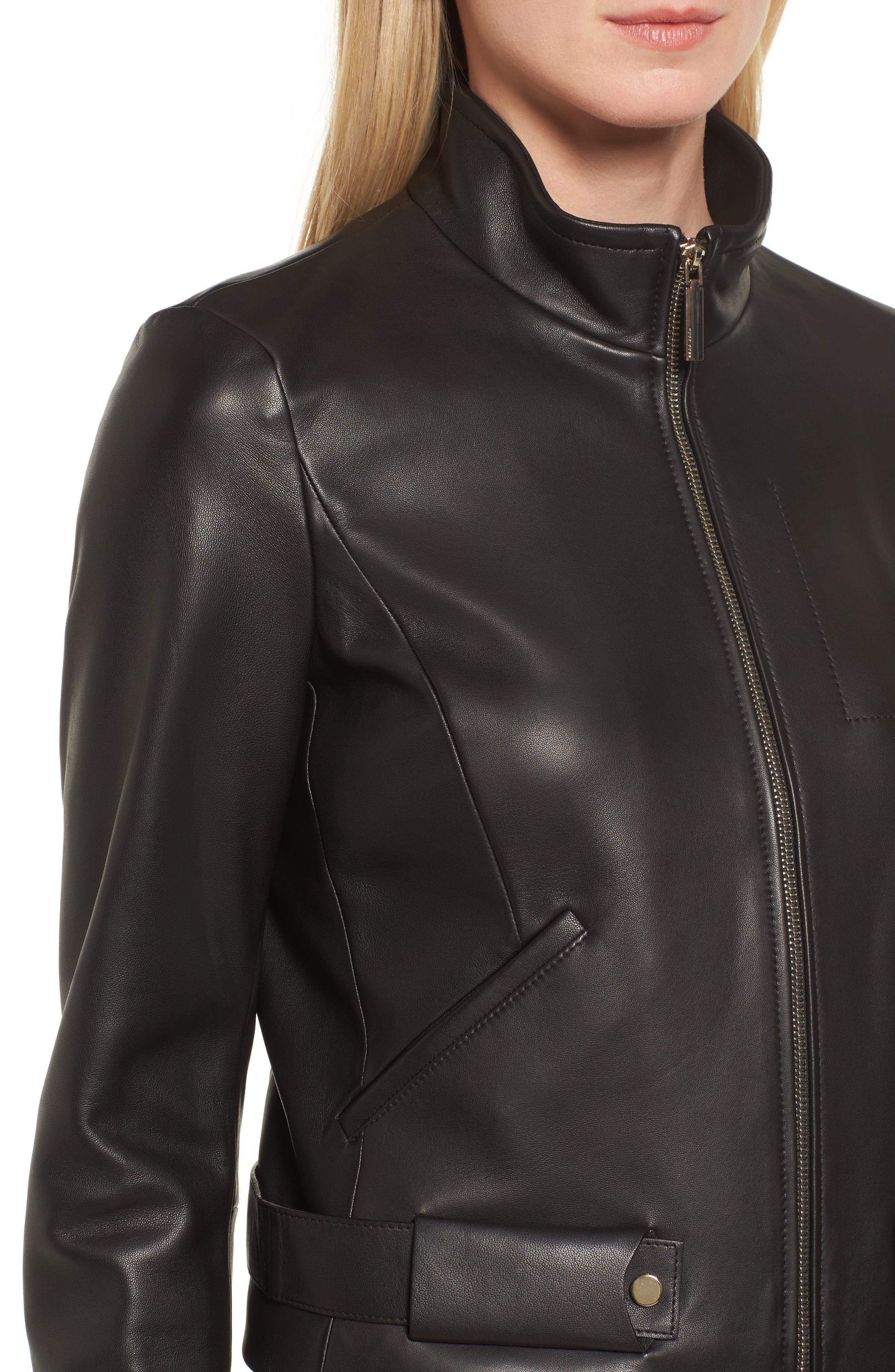 BOSS,                             Sanuvo Leather Jacket,                             Alternate thumbnail 4, color,                             001