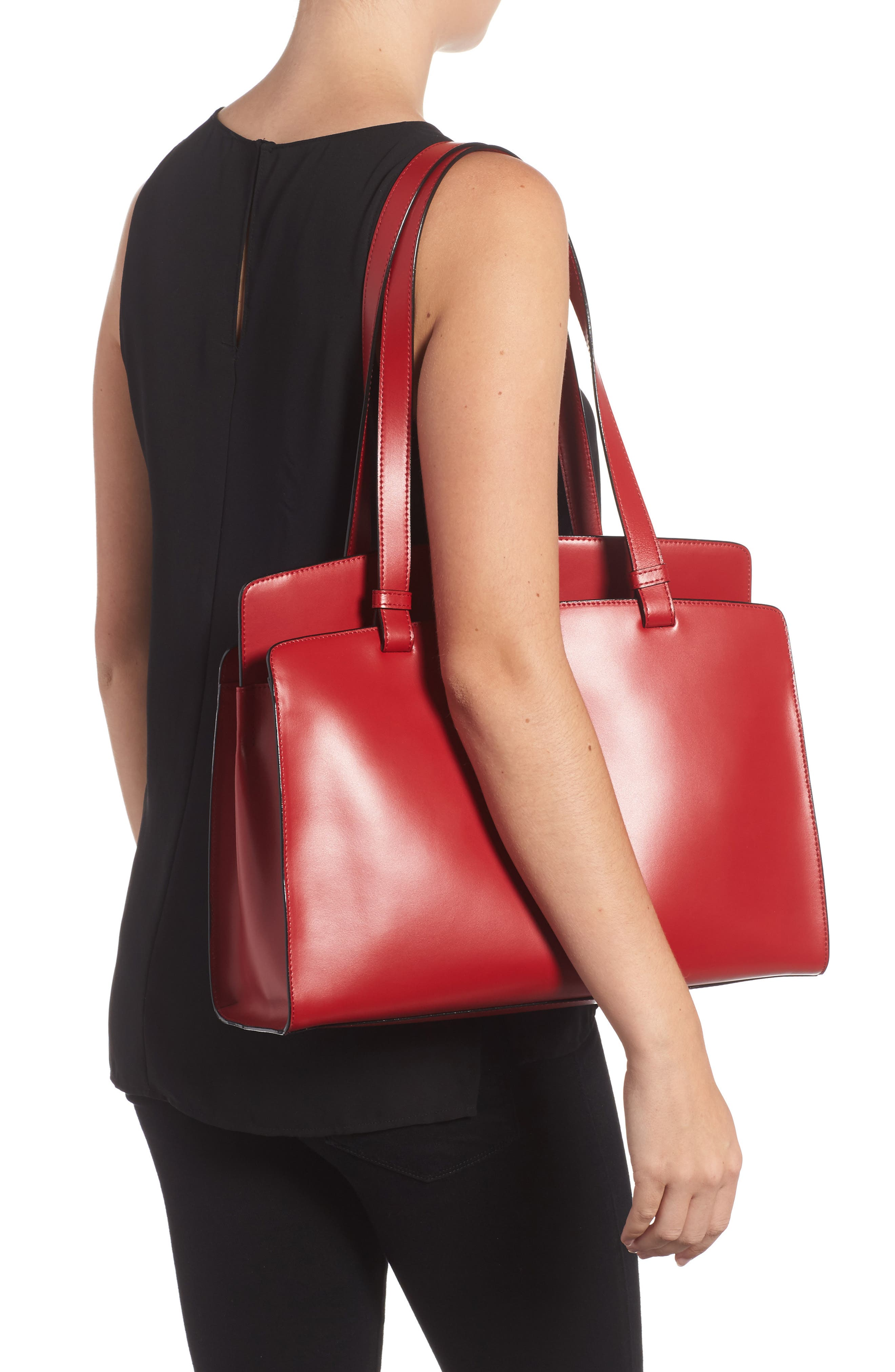 Audrey Under Lock & Key - Jana RFID Leather Tote,                             Alternate thumbnail 2, color,                             RED