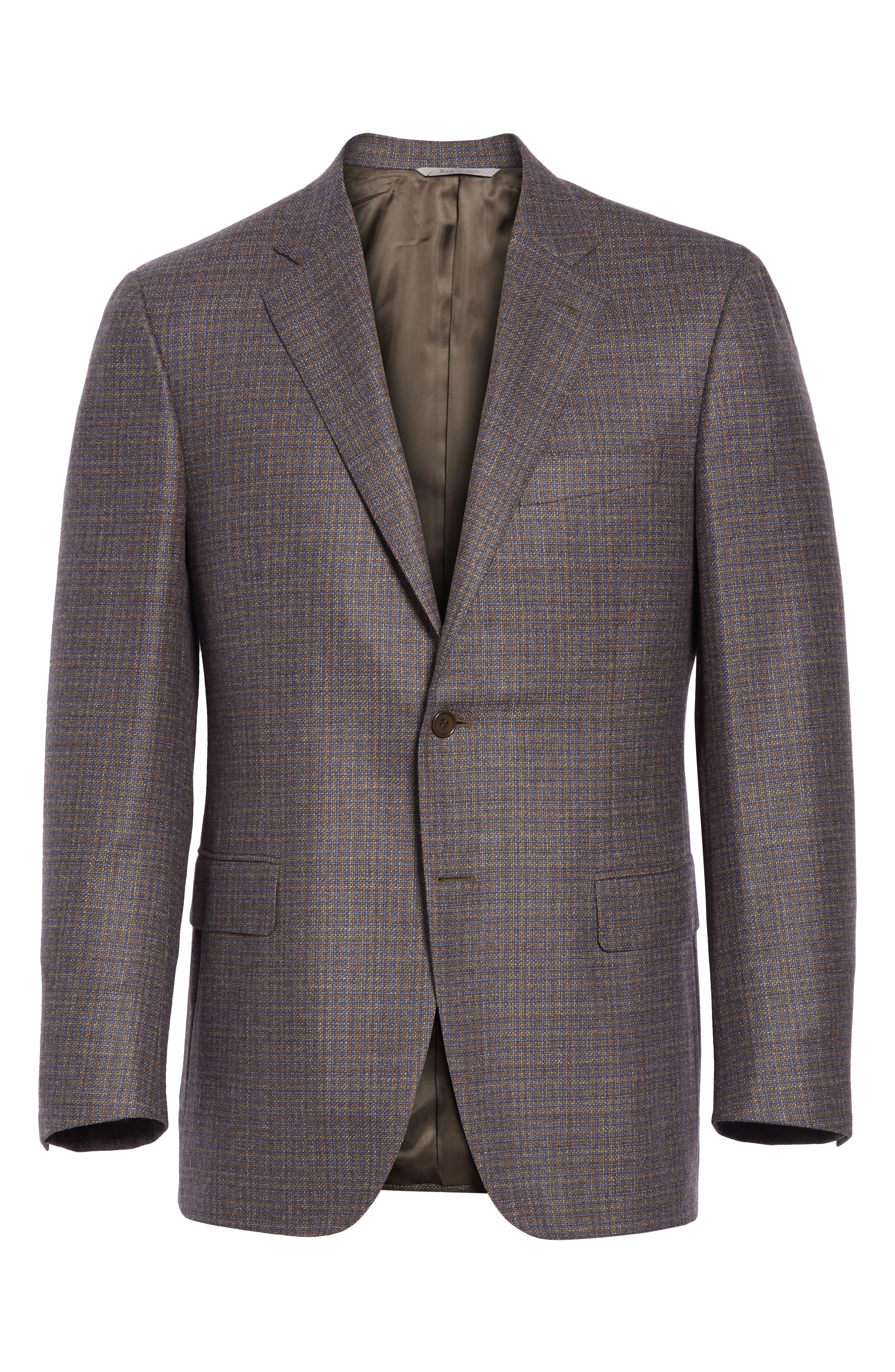 Classic Fit Check Wool & Cashmere Sport Coat,                             Alternate thumbnail 5, color,                             BROWN/ BLUE