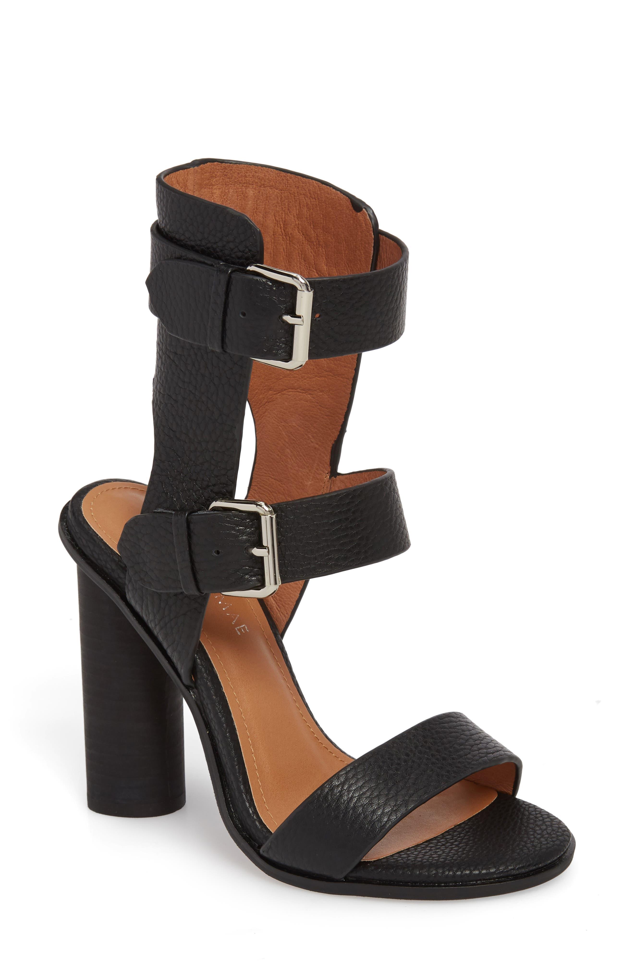 Abeba Block Heel Sandal,                         Main,                         color, BLACK LEATHER