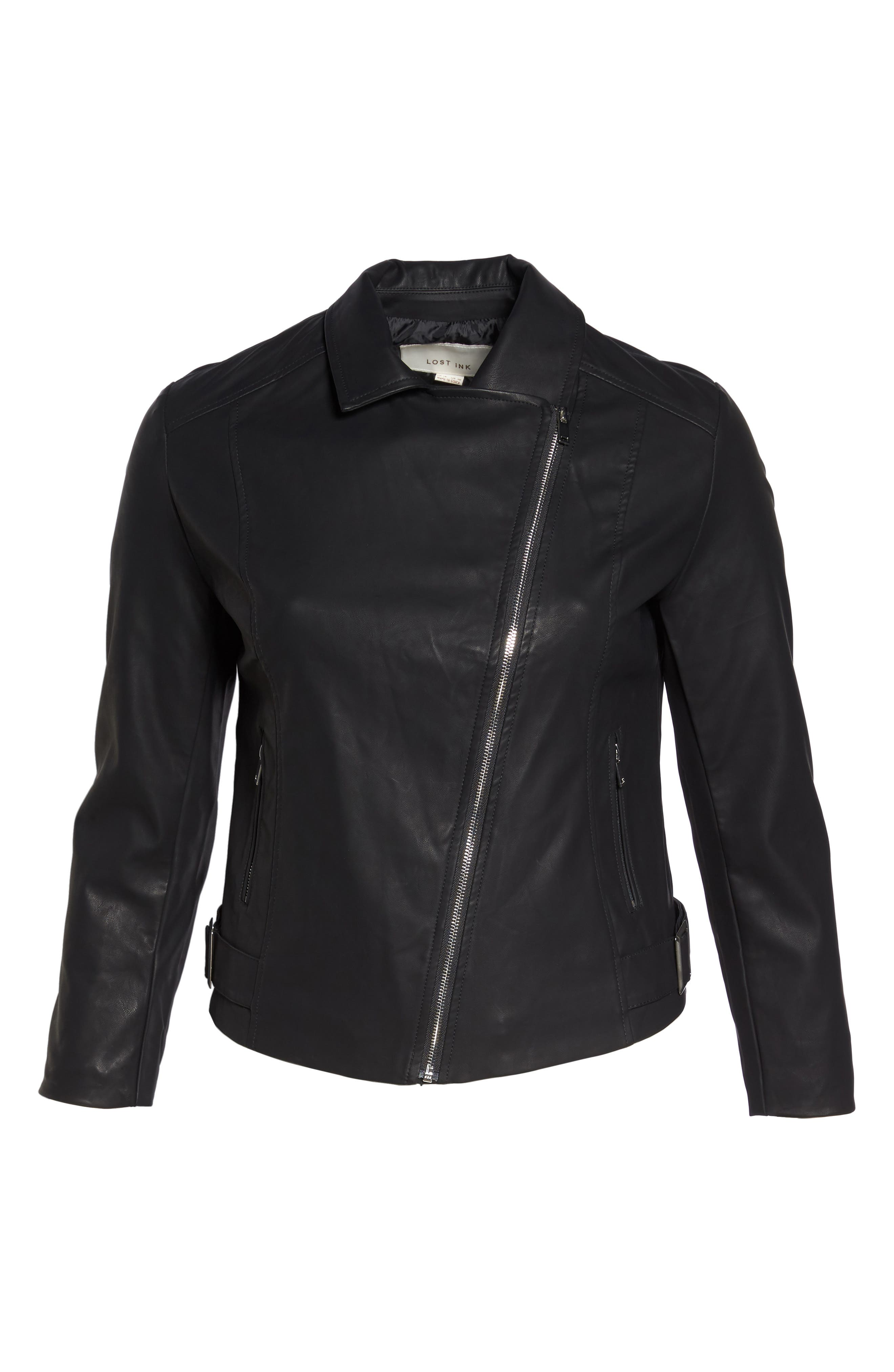 Faux Leather Moto Jacket,                             Alternate thumbnail 5, color,                             001